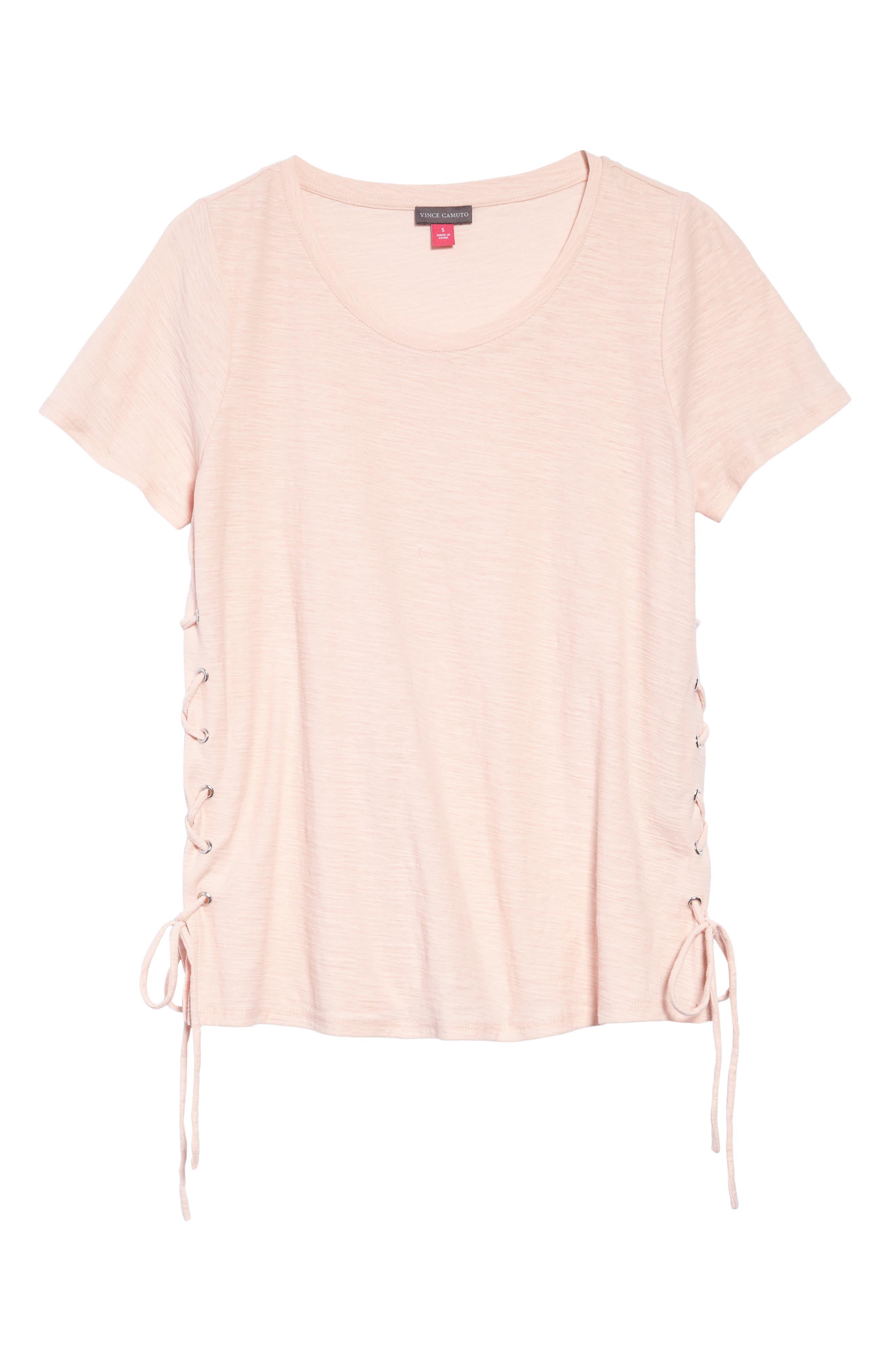 Side Lace-Up Cotton Slub Top,                             Alternate thumbnail 27, color,