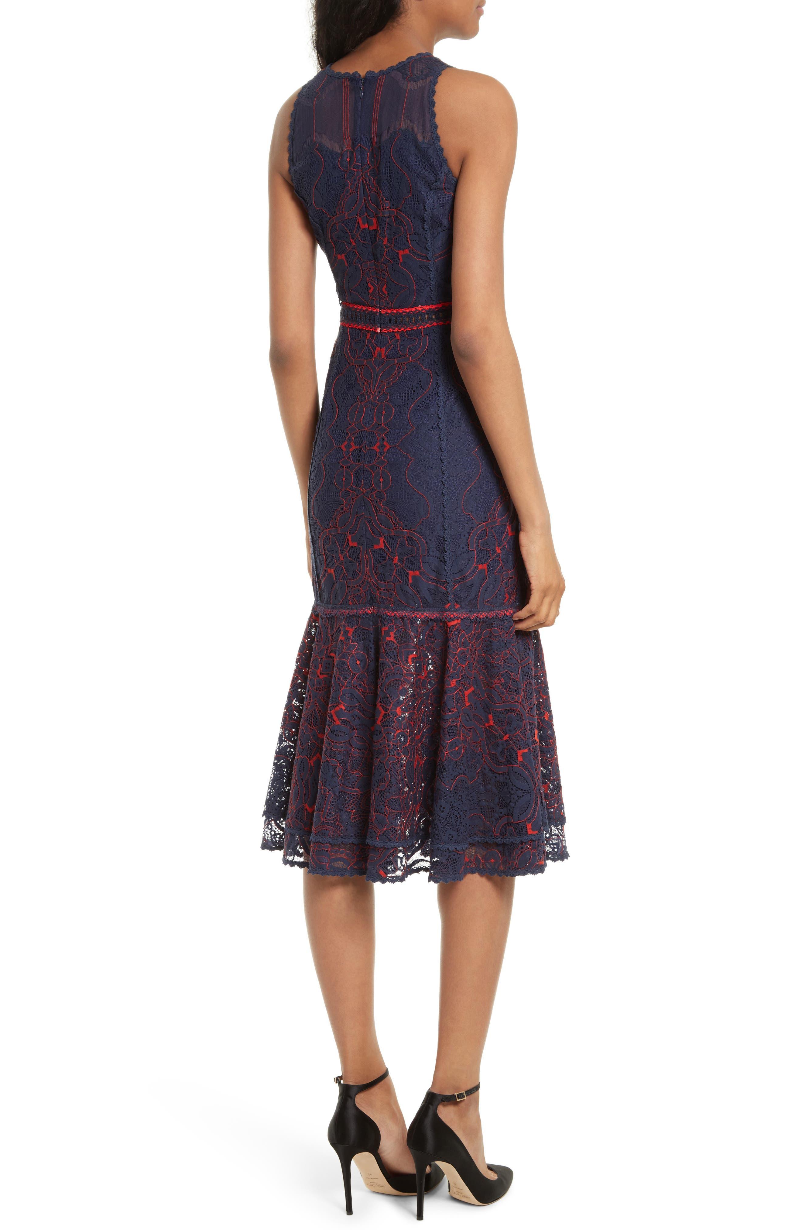 Lace Ruffle Hem Dress,                             Alternate thumbnail 2, color,                             497