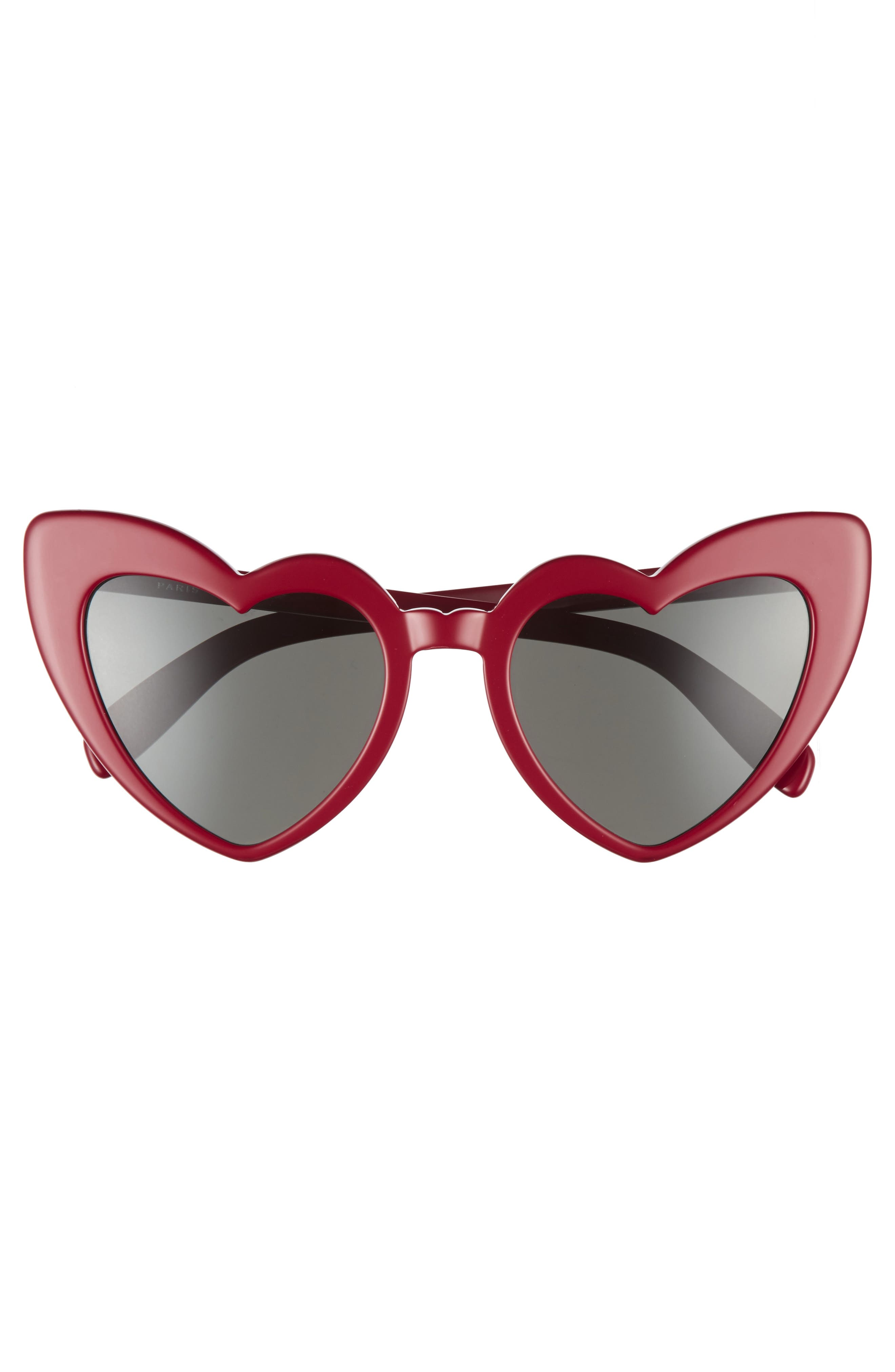 Loulou 54mm Heart Sunglasses,                             Alternate thumbnail 3, color,                             RED/ GREY