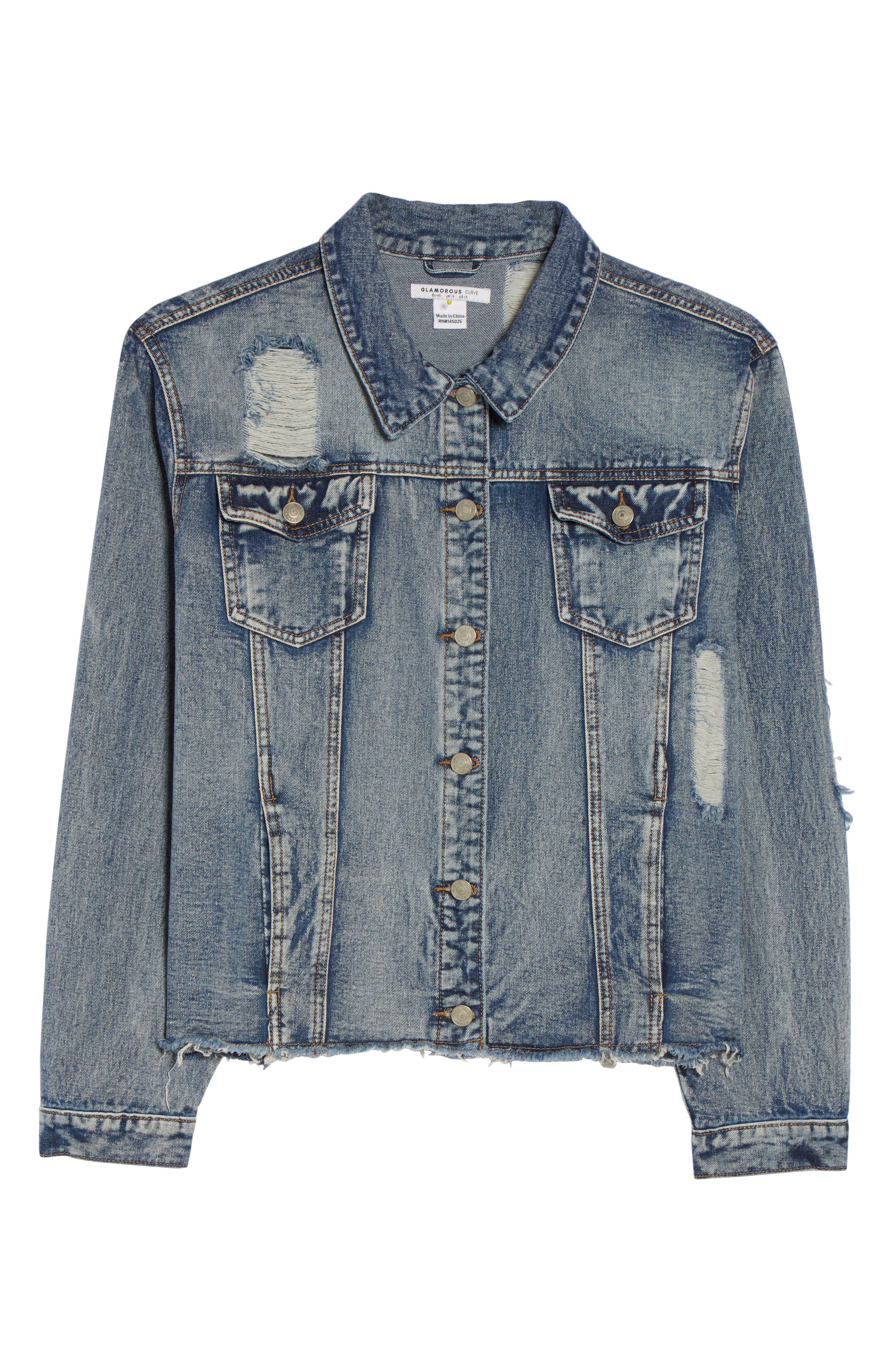 Embellished Distressed Denim Jacket,                             Alternate thumbnail 6, color,                             420