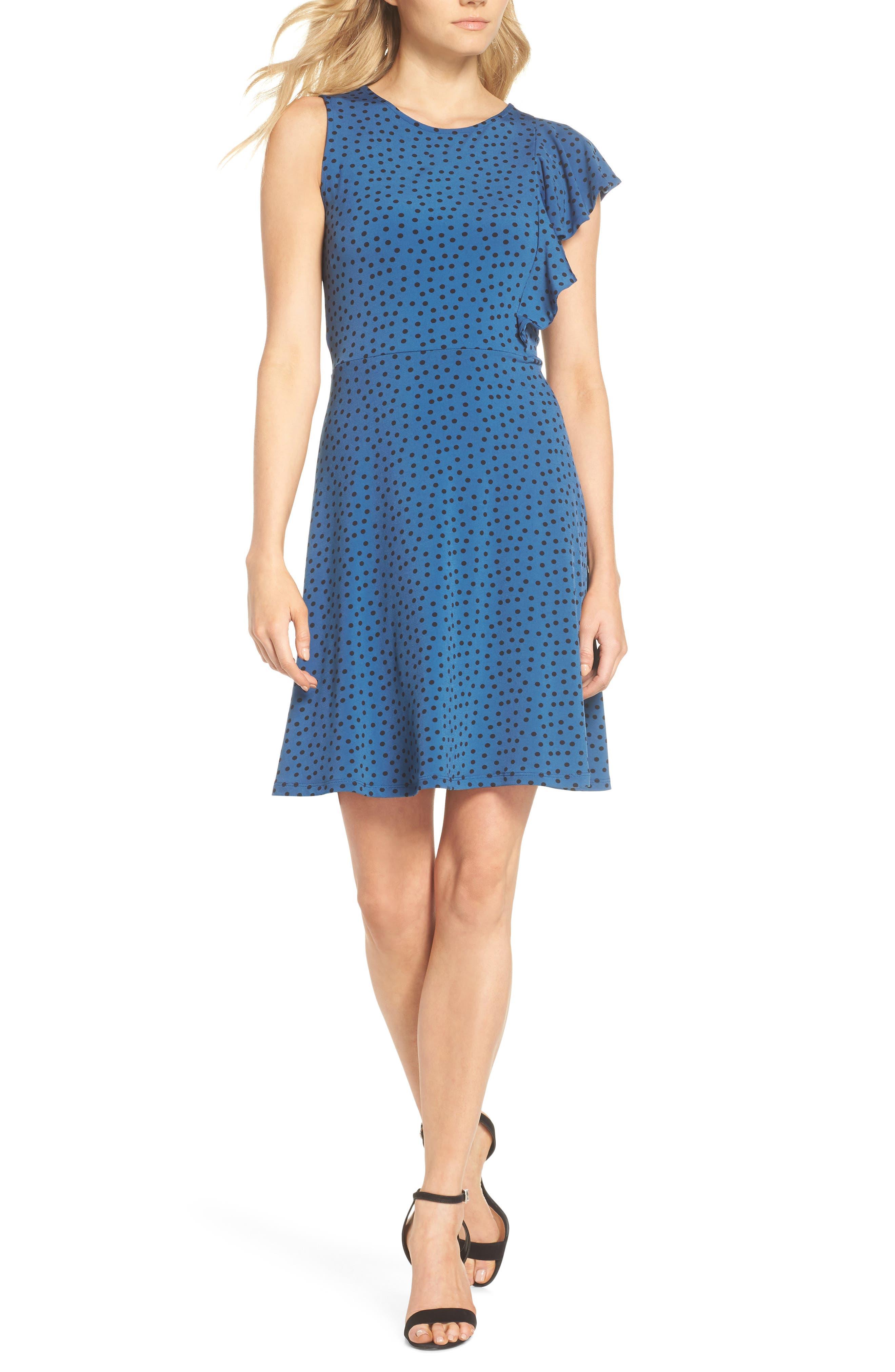 Leota Adrianna Ruffle A-Line Dress, Blue