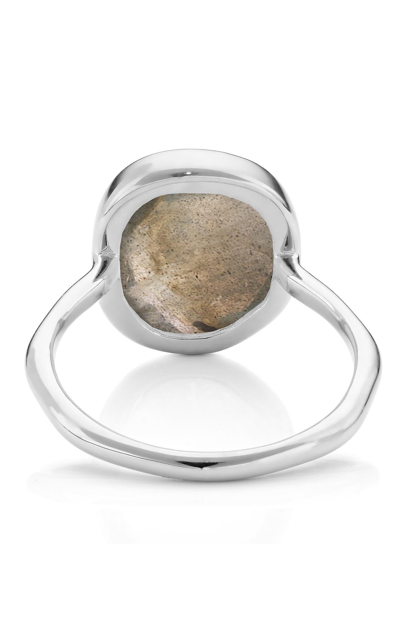 'Siren' Medium Semiprecious Stone Stacking Ring,                             Alternate thumbnail 3, color,                             SILVER/ LABRADORITE