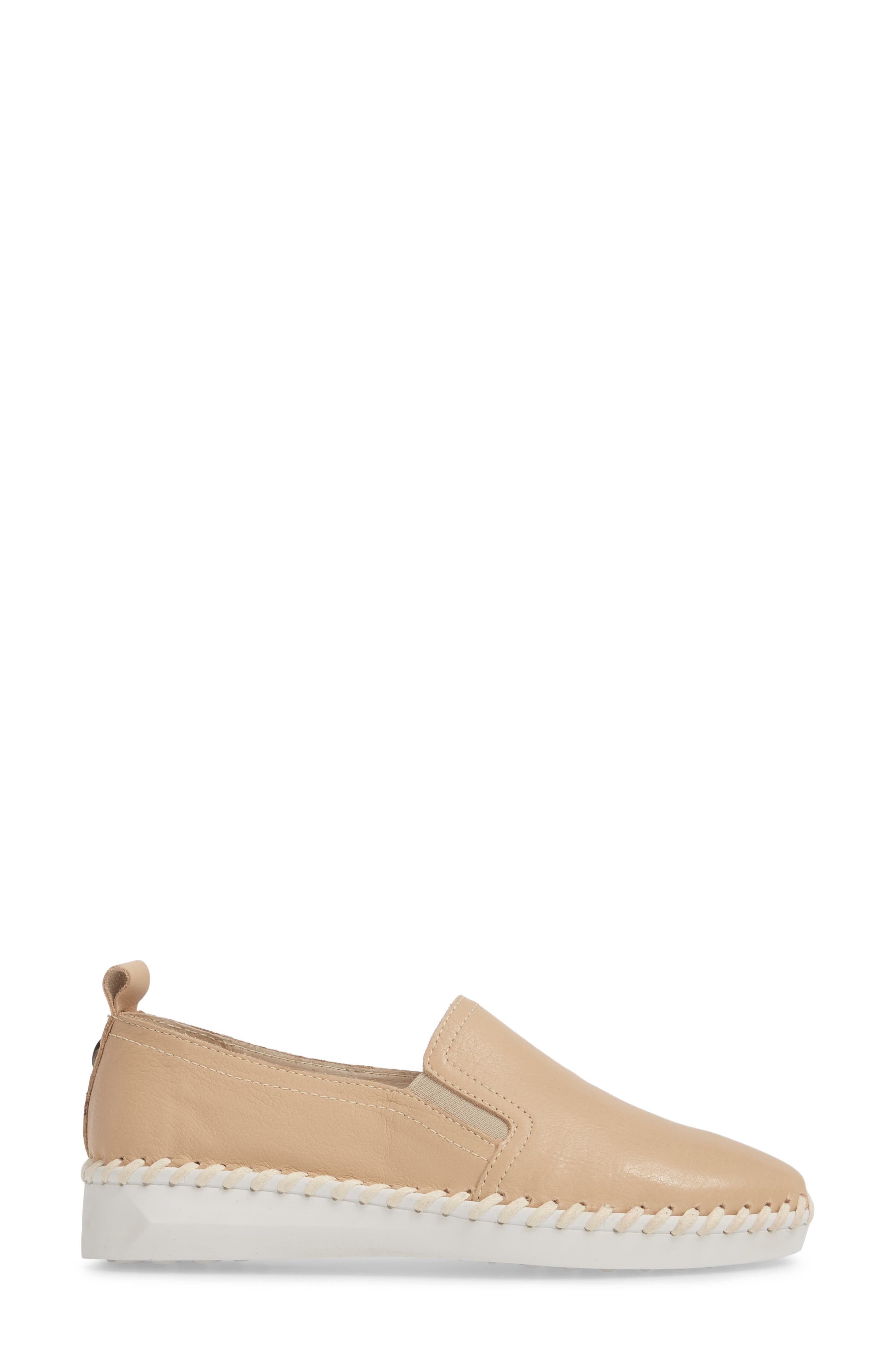 TW85 Slip-On Sneaker,                             Alternate thumbnail 3, color,                             NUDE LEATHER
