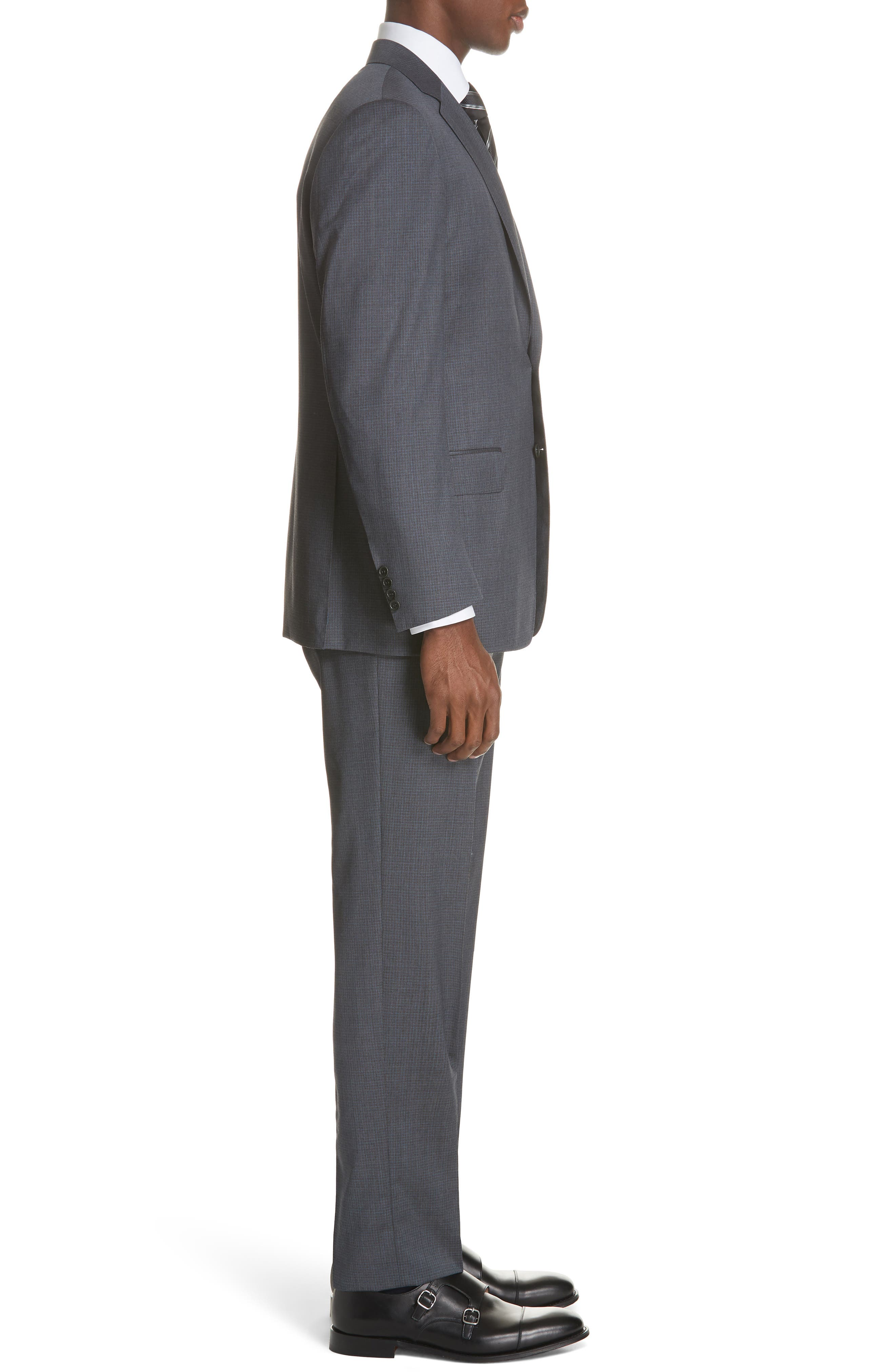 Classic Fit Check Wool Suit,                             Alternate thumbnail 3, color,                             GREY
