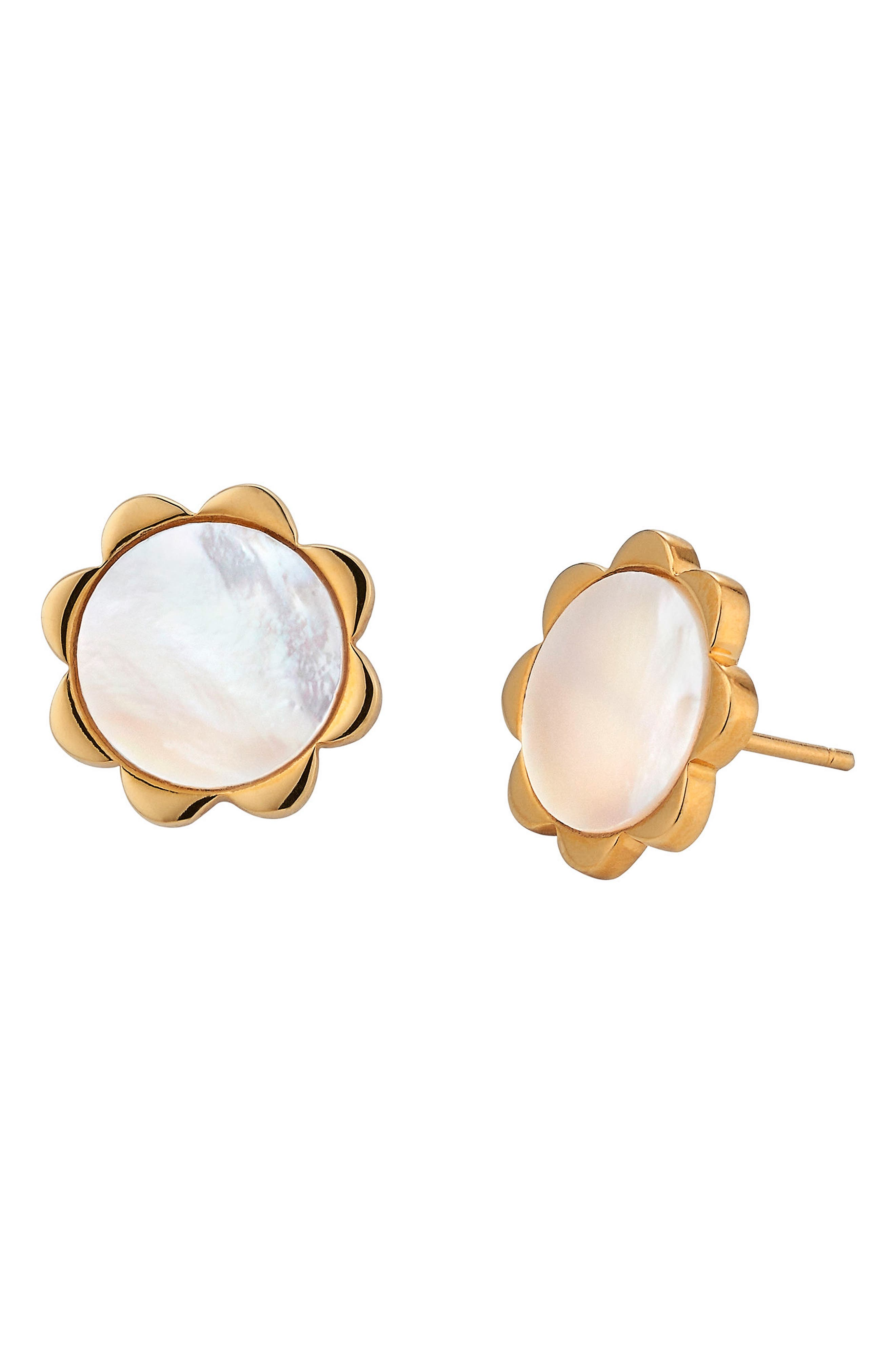 Flower Mother-of-Pearl Stud Earrings,                             Main thumbnail 1, color,                             GOLD - MOTHER OF PEARL