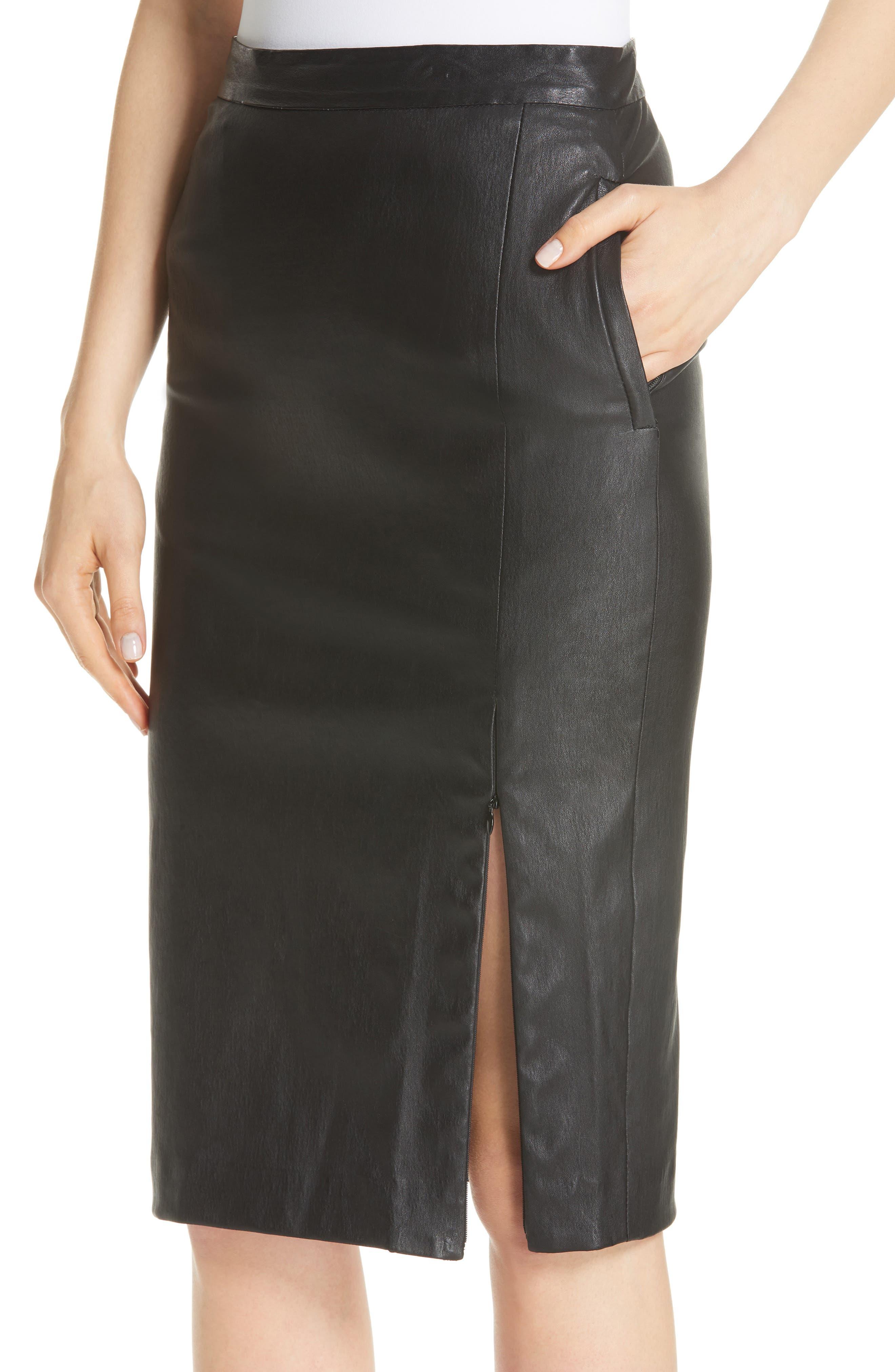 Leather Pencil Skirt,                             Alternate thumbnail 4, color,                             001