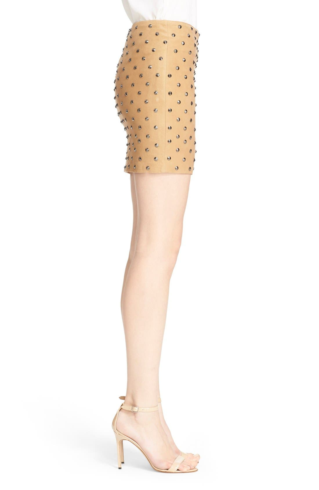 'Elana' Studded Suede Miniskirt,                             Alternate thumbnail 2, color,