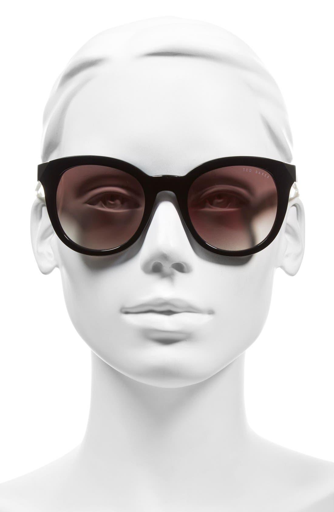 52mm Metal Accent Sunglasses,                             Alternate thumbnail 3, color,