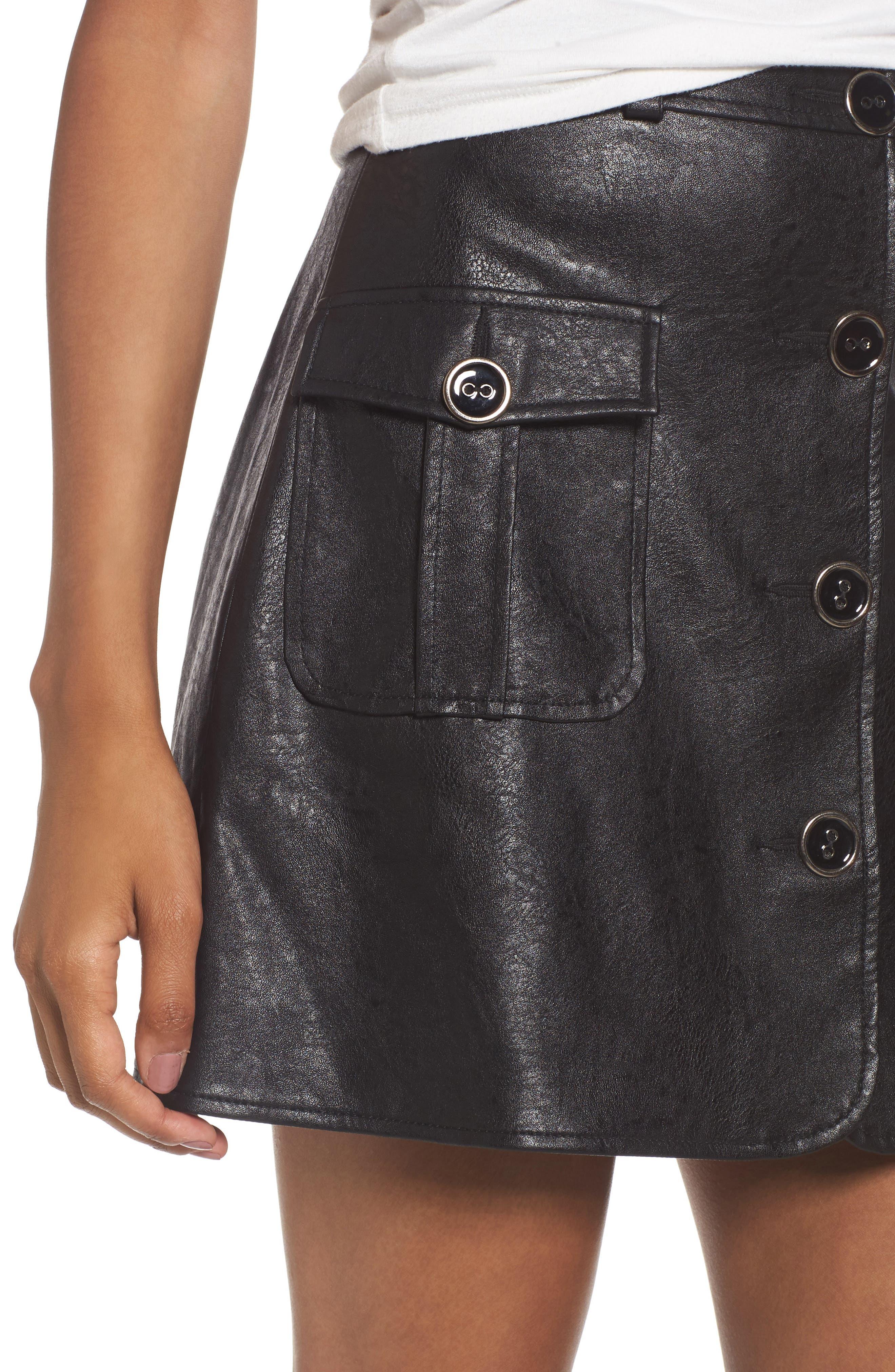 Envoy Faux Leather Moto Skirt,                             Alternate thumbnail 4, color,