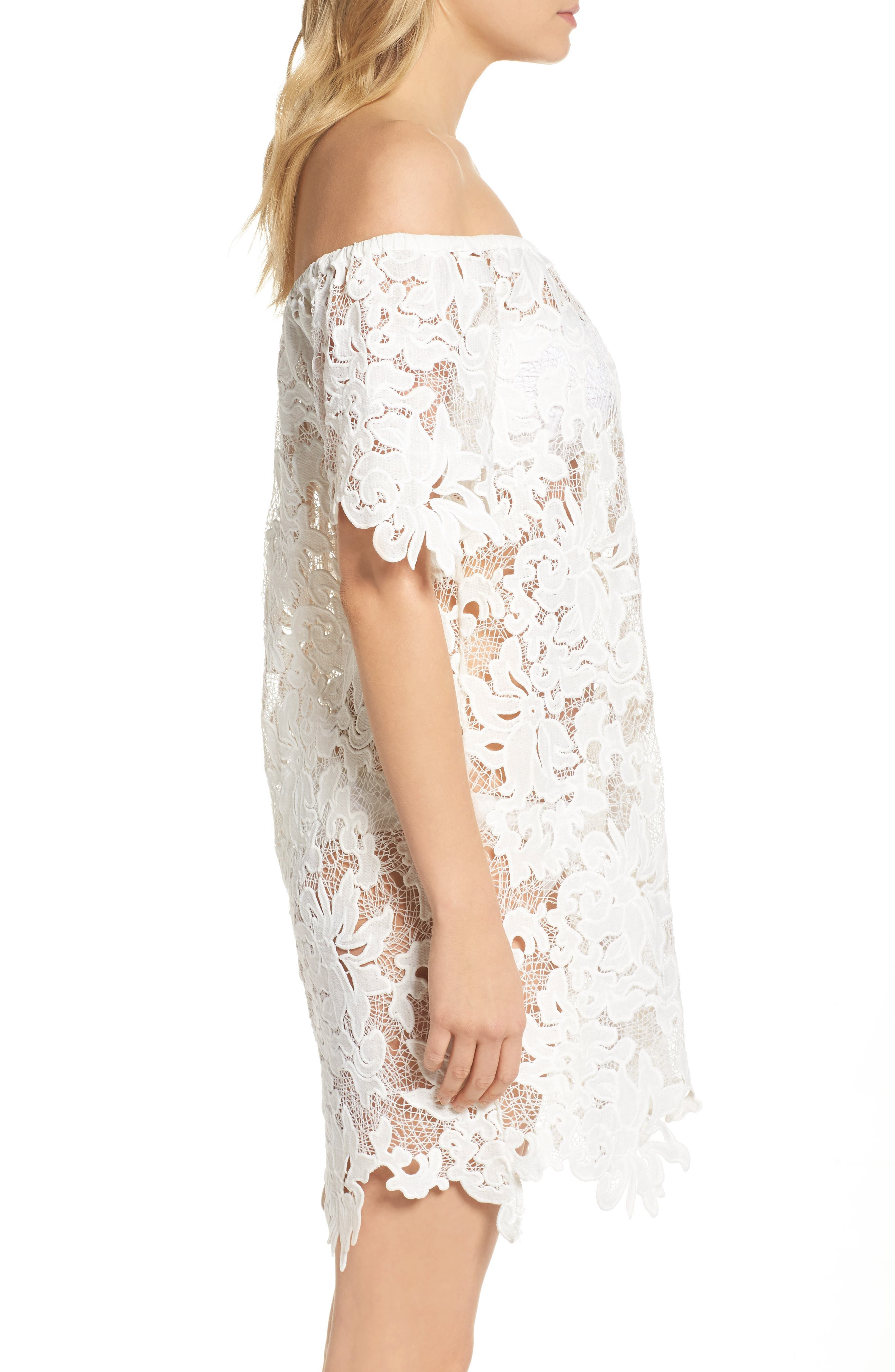 Ode Rosette Lace Cover-Up Dress,                             Alternate thumbnail 3, color,                             100