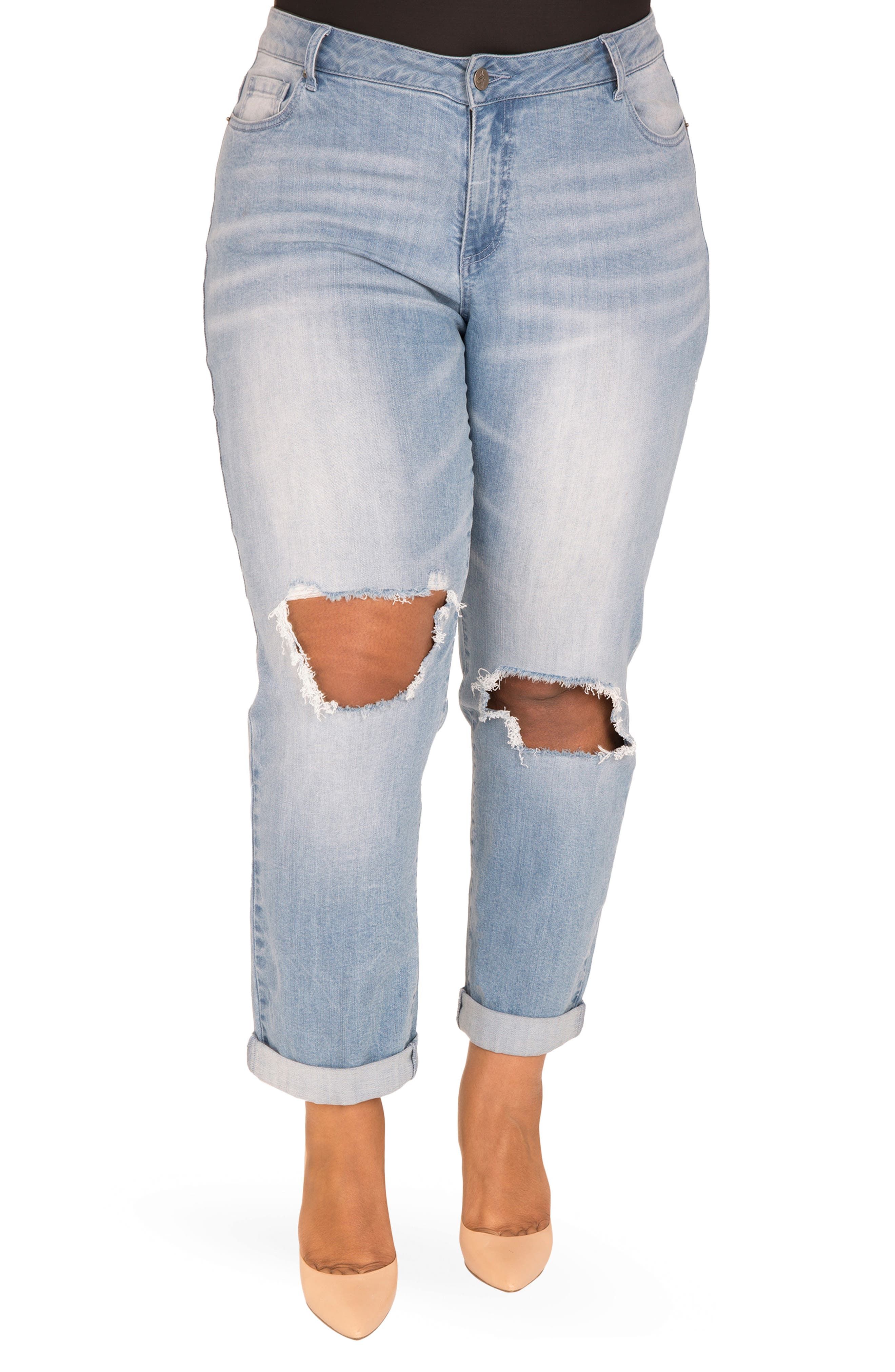 Verla Destroyed Boyfriend Jeans,                             Main thumbnail 1, color,                             LIGHT BLUE