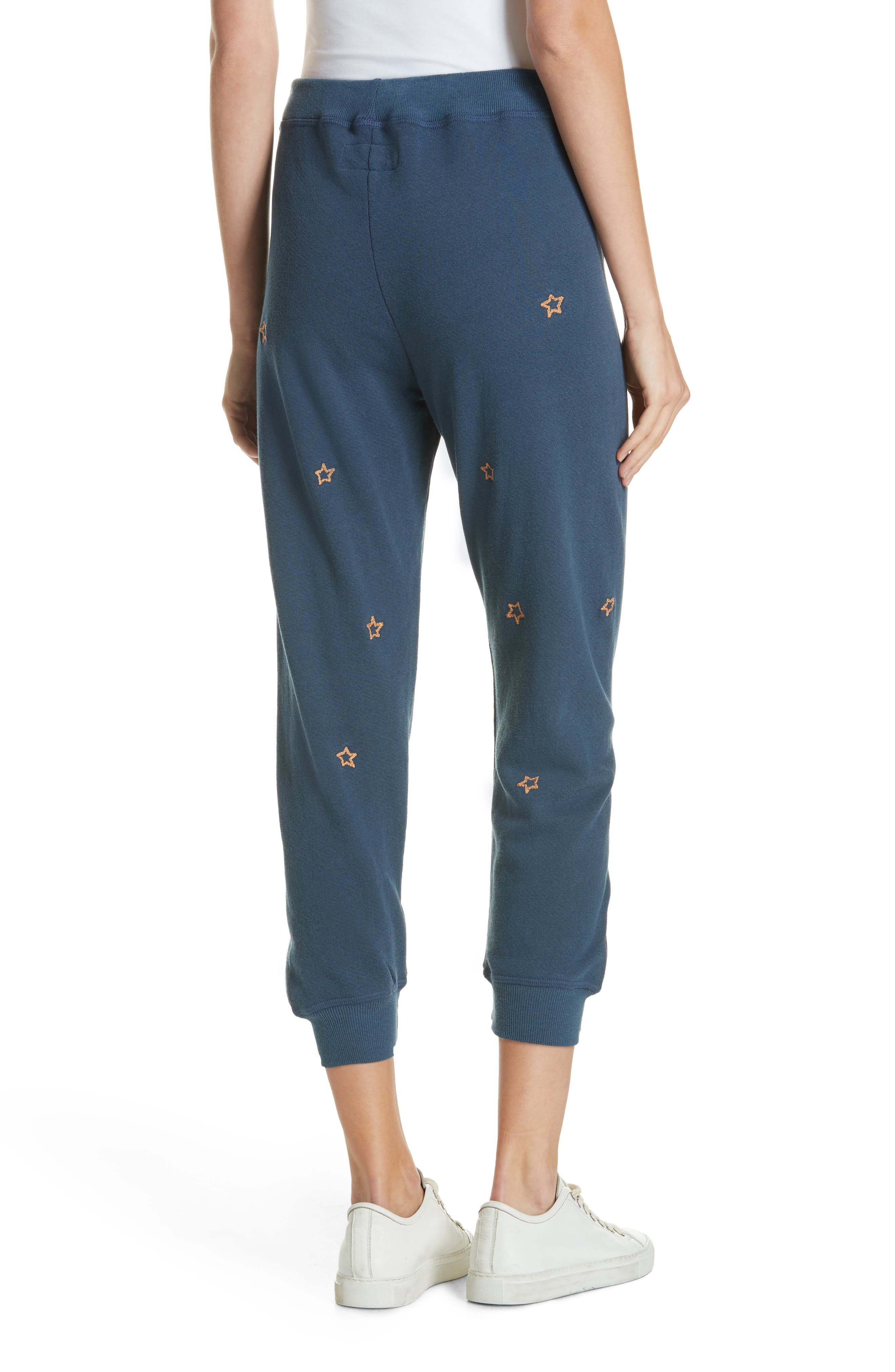 The Cropped Sweatpants,                             Alternate thumbnail 2, color,                             NAVY/ STAR EMBROIDERY