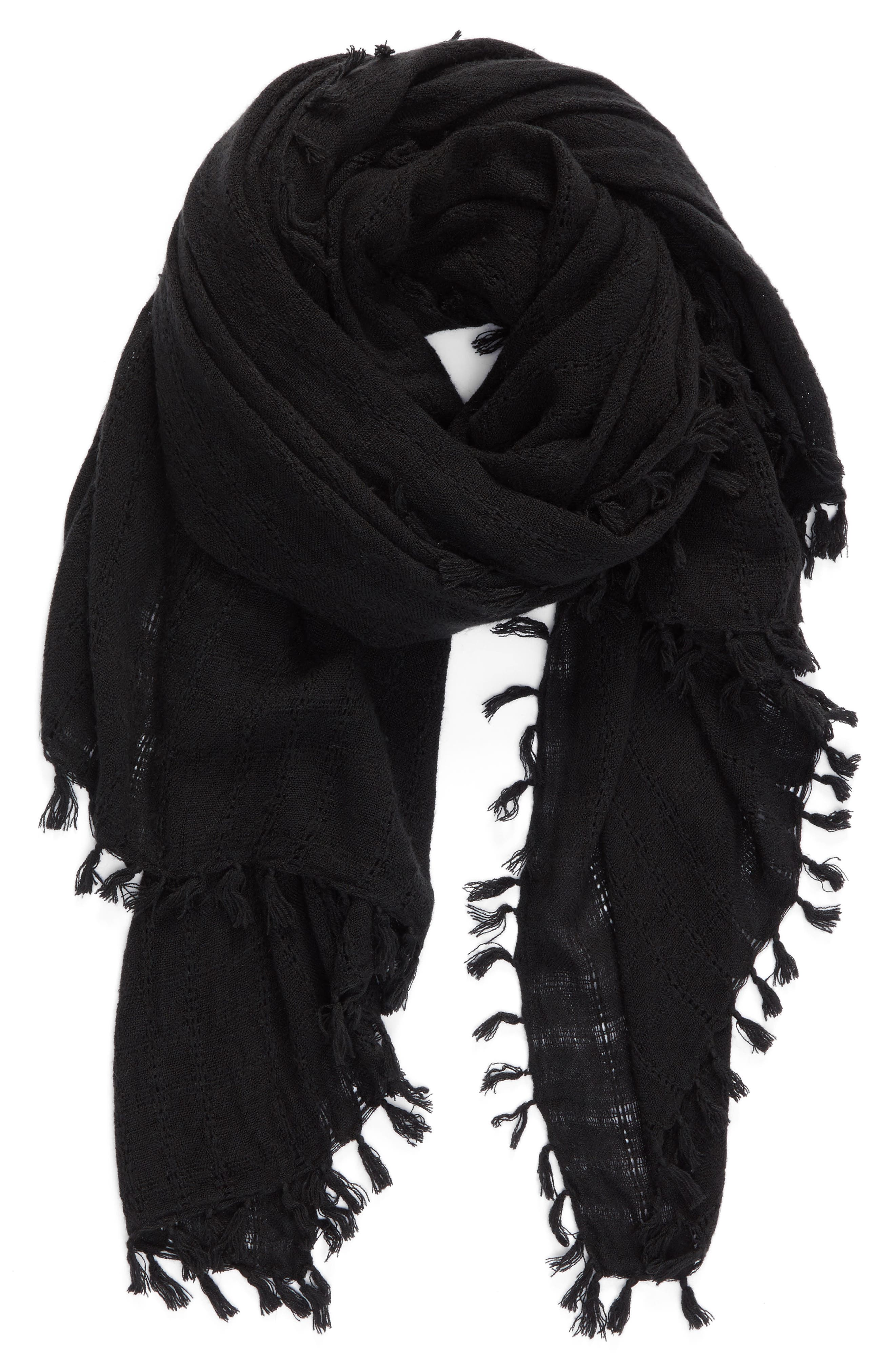 Knotted Tassel Scarf,                             Alternate thumbnail 2, color,                             001