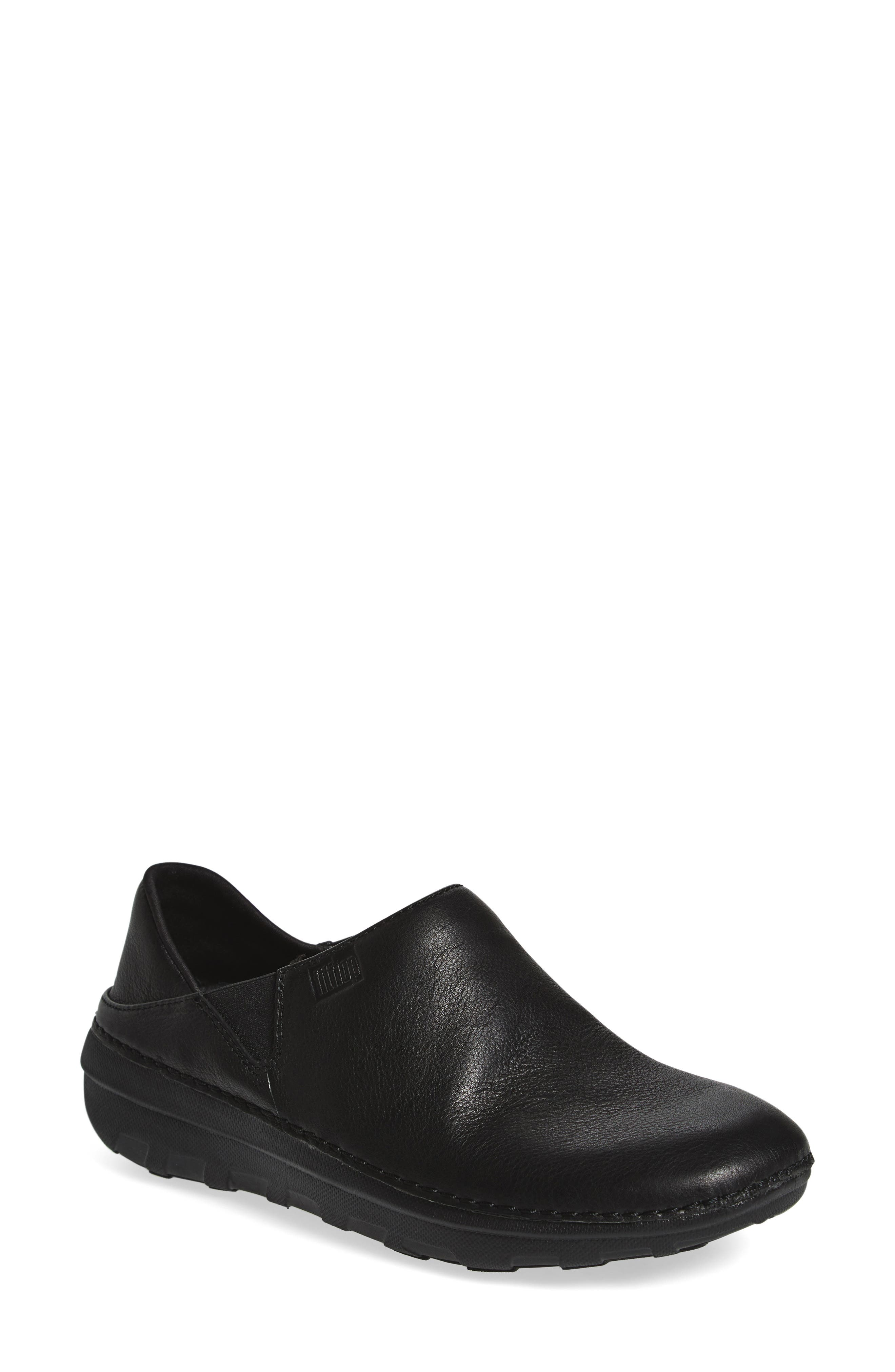 Superloafer Flat,                             Main thumbnail 1, color,                             ALL BLACK LEATHER