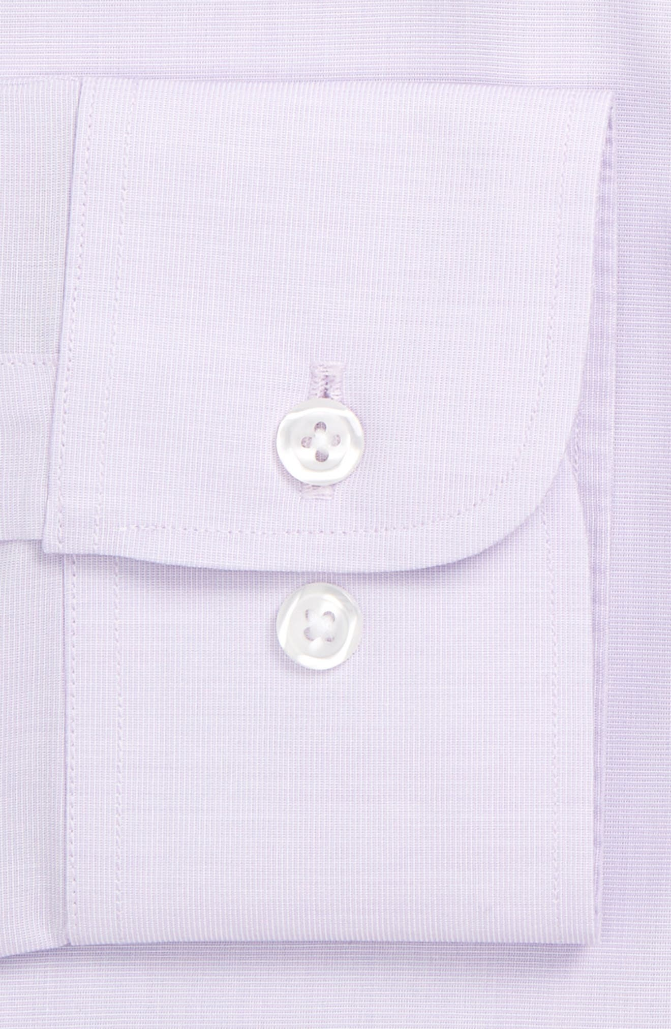 Slim Fit Wrinkle Free Solid Dress Shirt,                             Alternate thumbnail 4, color,                             PALE LILAC