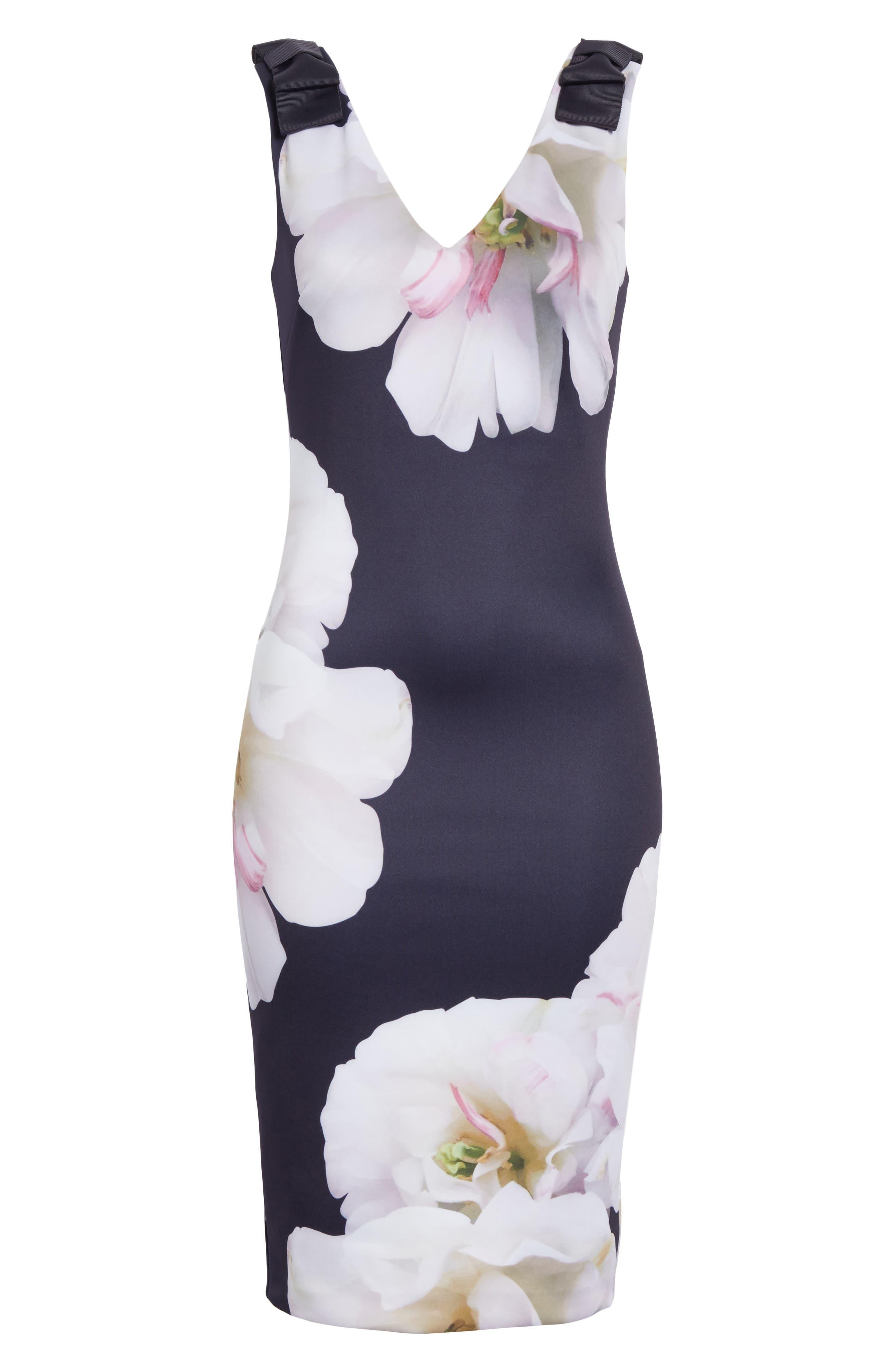 Gardenia Bow Shoulder Body-Con Dress,                             Alternate thumbnail 6, color,