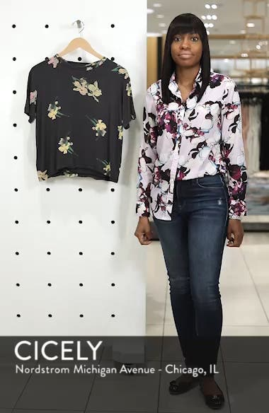 Floral Print Distressed Tee, sales video thumbnail