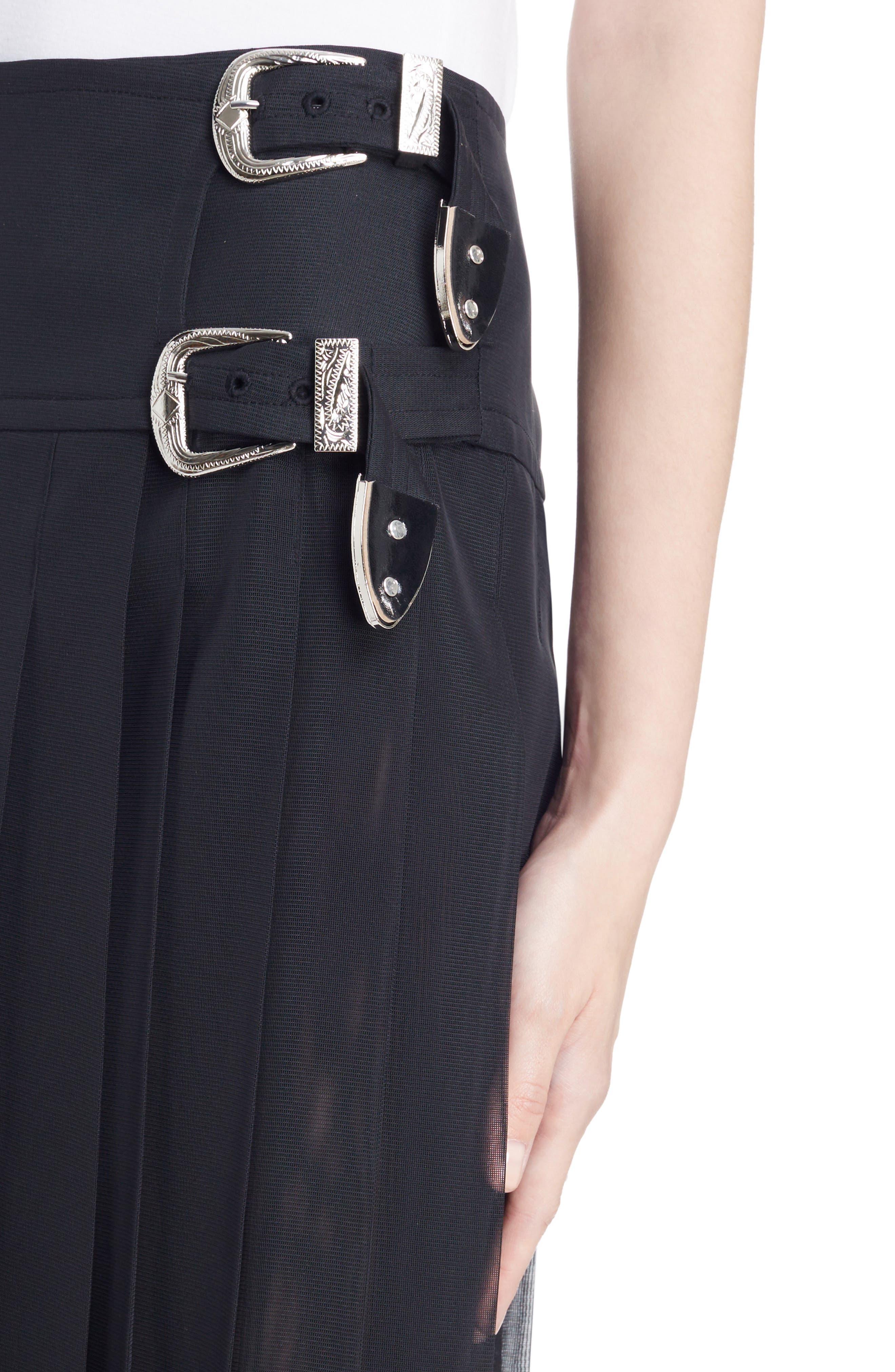 Buckle Pleated Mesh Skirt,                             Alternate thumbnail 4, color,                             001