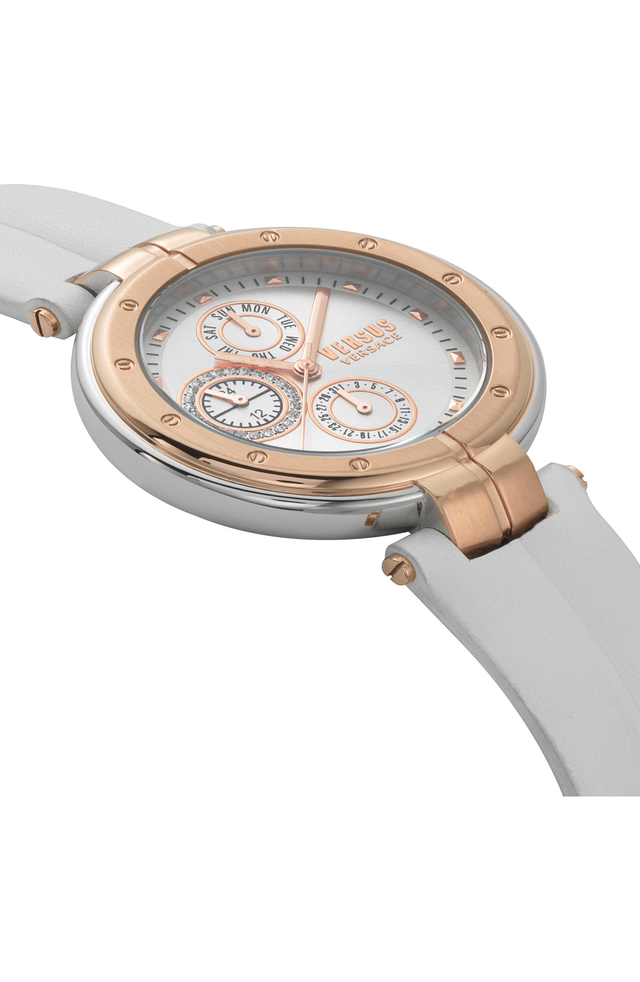 Bellville Leather Strap Watch, 38mm,                             Alternate thumbnail 3, color,                             WHITE/ ROSE GOLD
