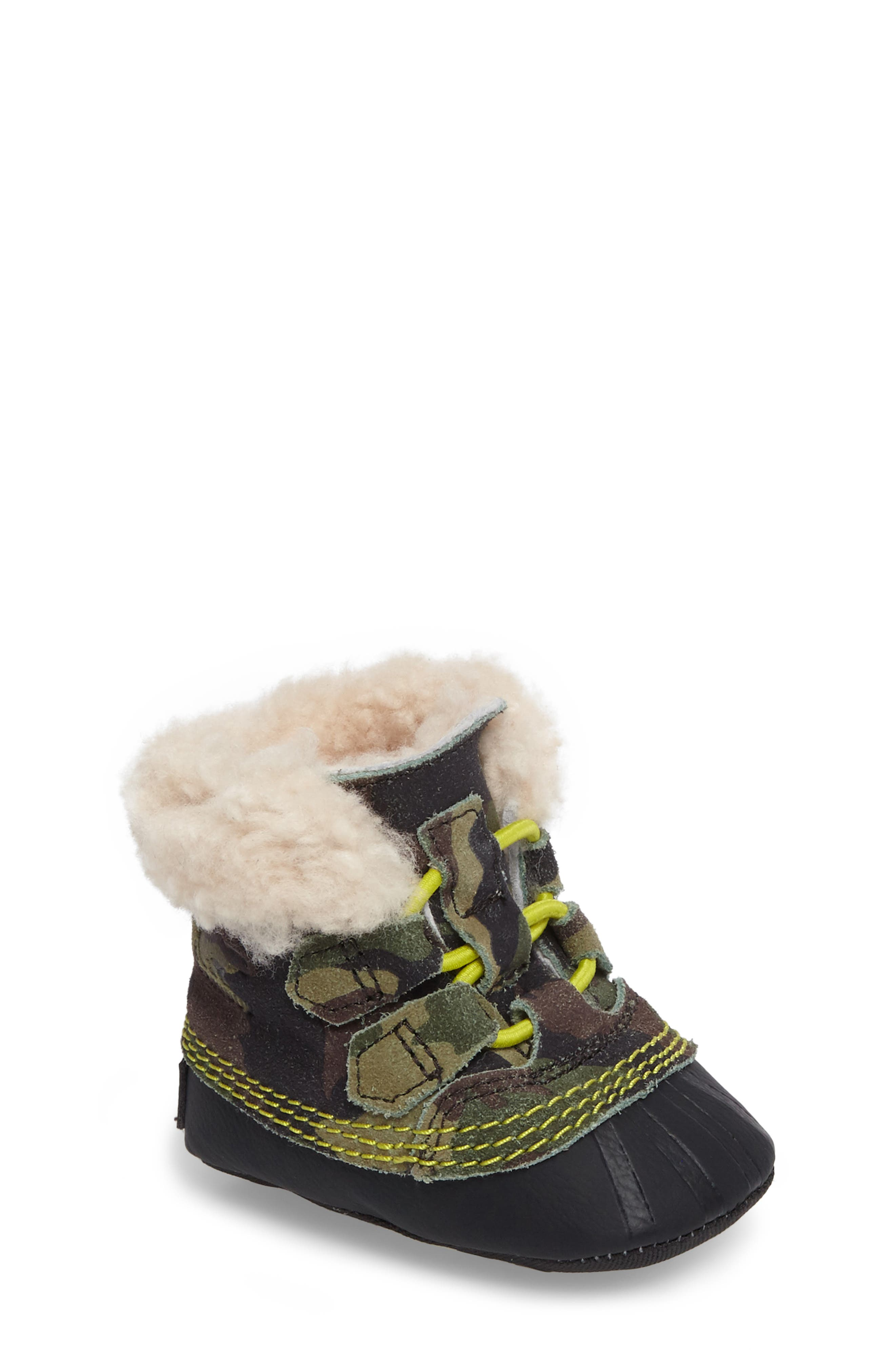 Caribootie Genuine Shearling Crib Shoe,                             Main thumbnail 4, color,
