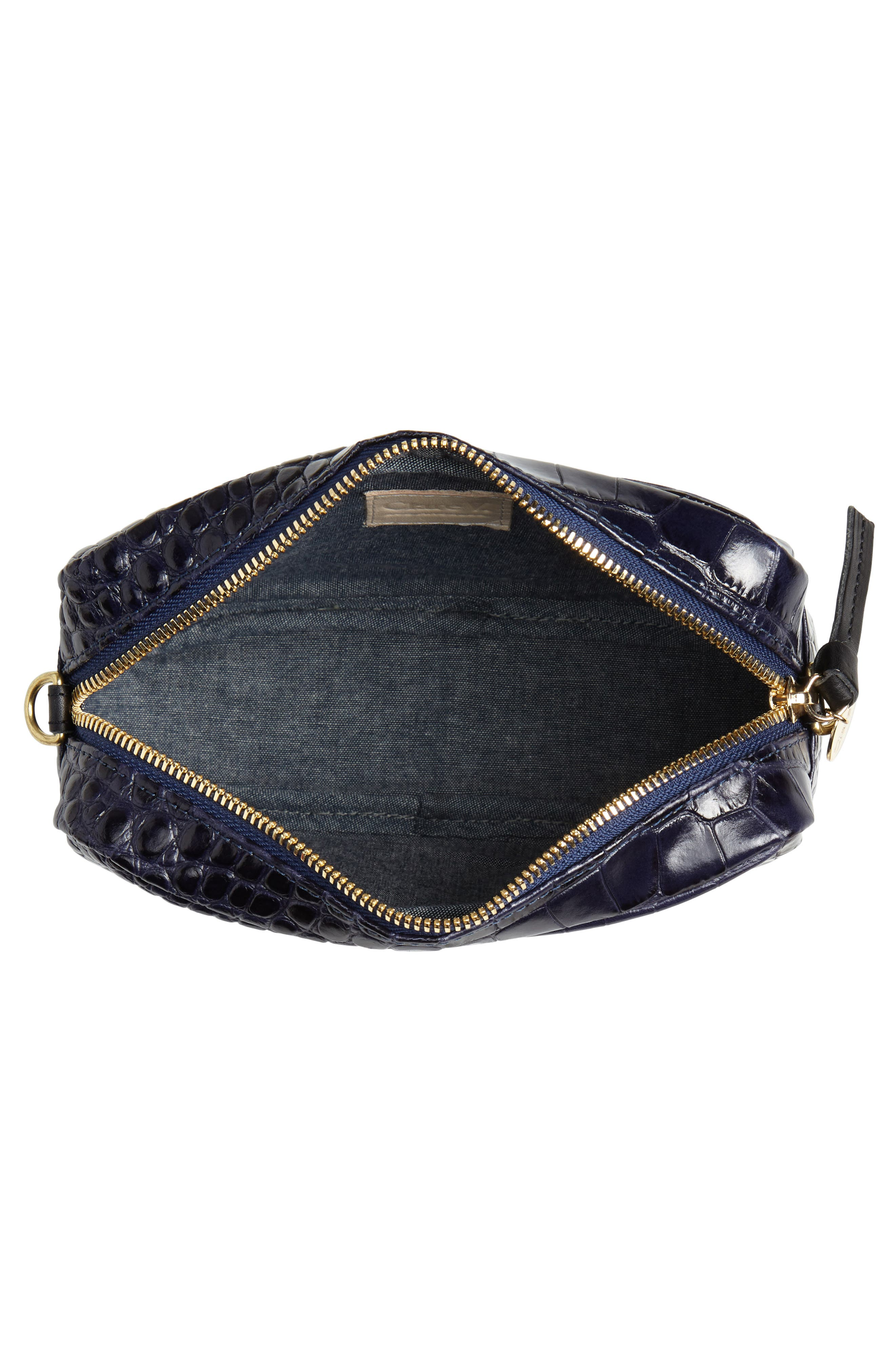 Midi Sac Croc Embossed Leather Crossbody Bag,                             Alternate thumbnail 4, color,                             MIDNIGHT CROCO
