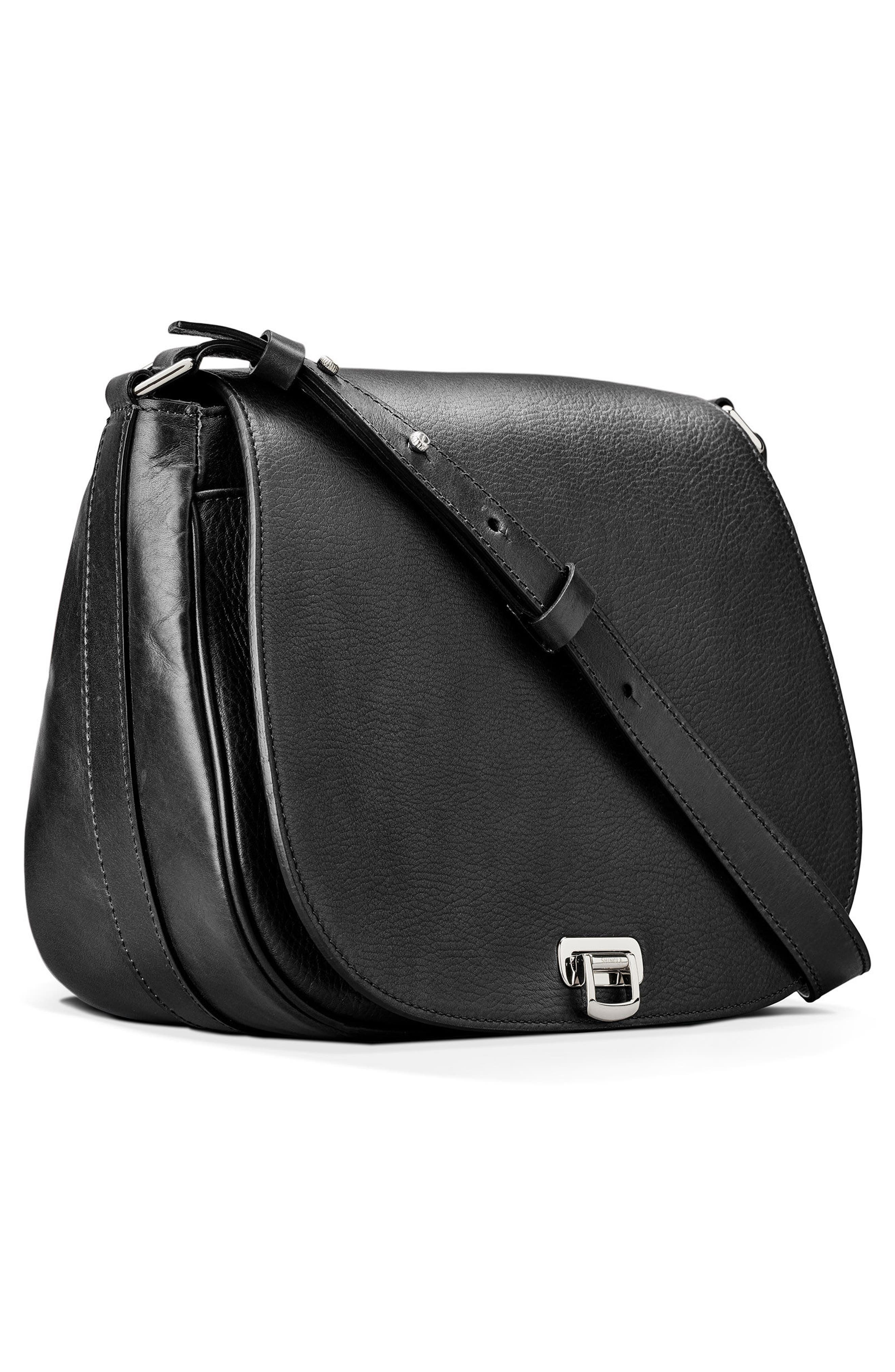Calfskin Leather Shoulder Bag,                             Alternate thumbnail 8, color,                             001