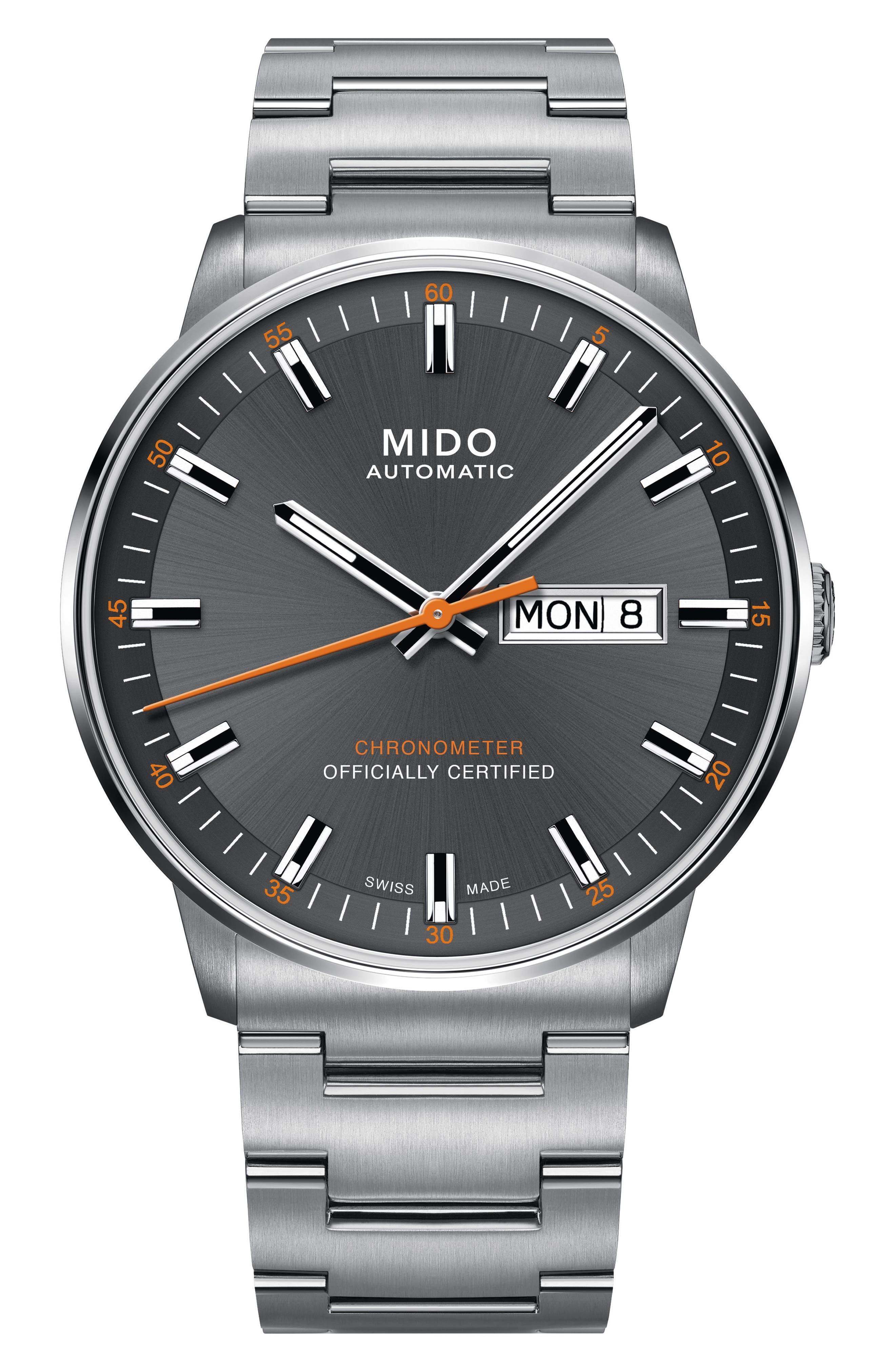 Commander Chronometer Bracelet Watch, 40mm,                         Main,                         color, SILVER/ GREY/ SILVER