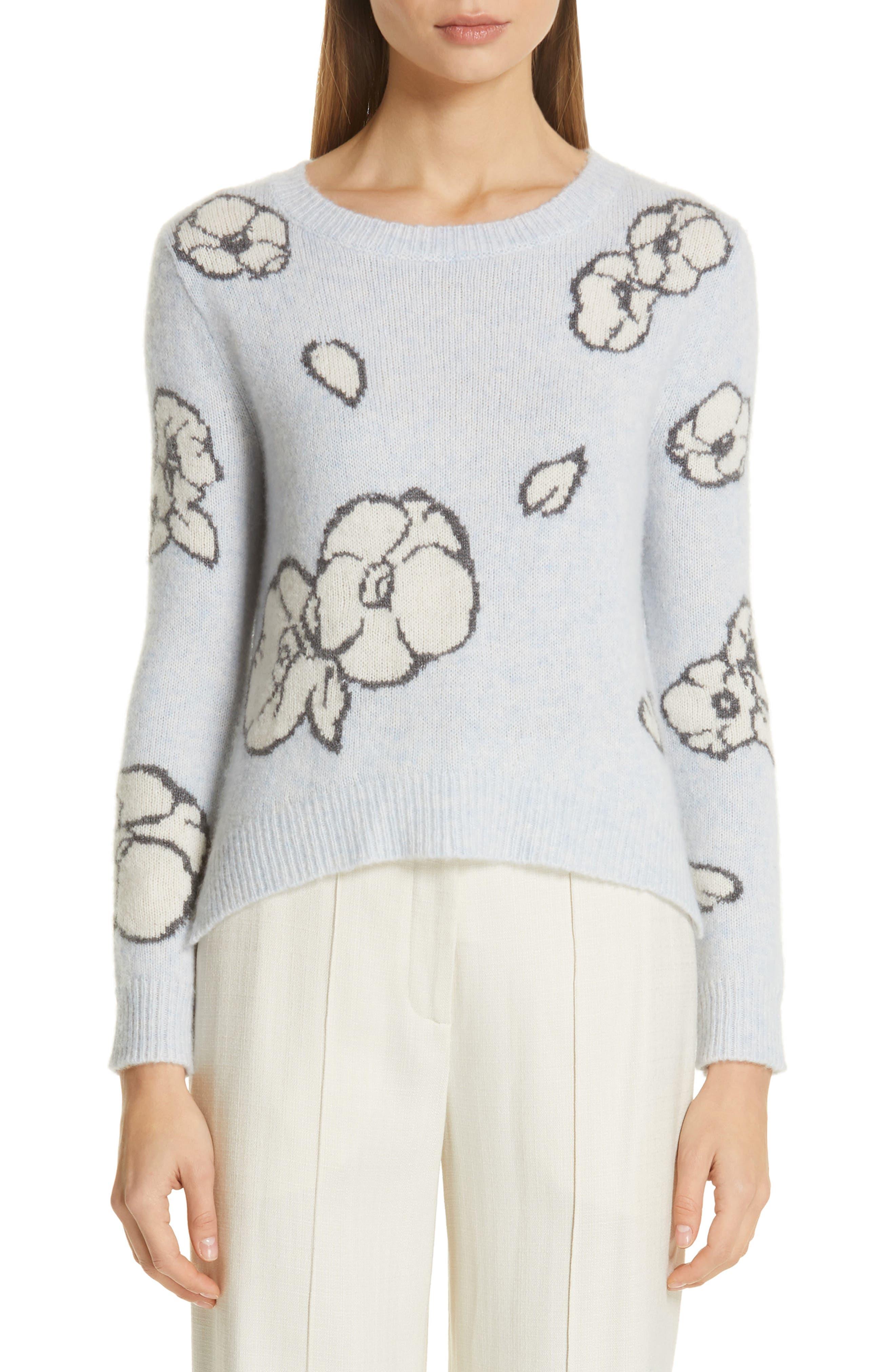 Intarsia Brushed Cashmere & Silk Sweater, Main, color, ICE BLUE MULTI