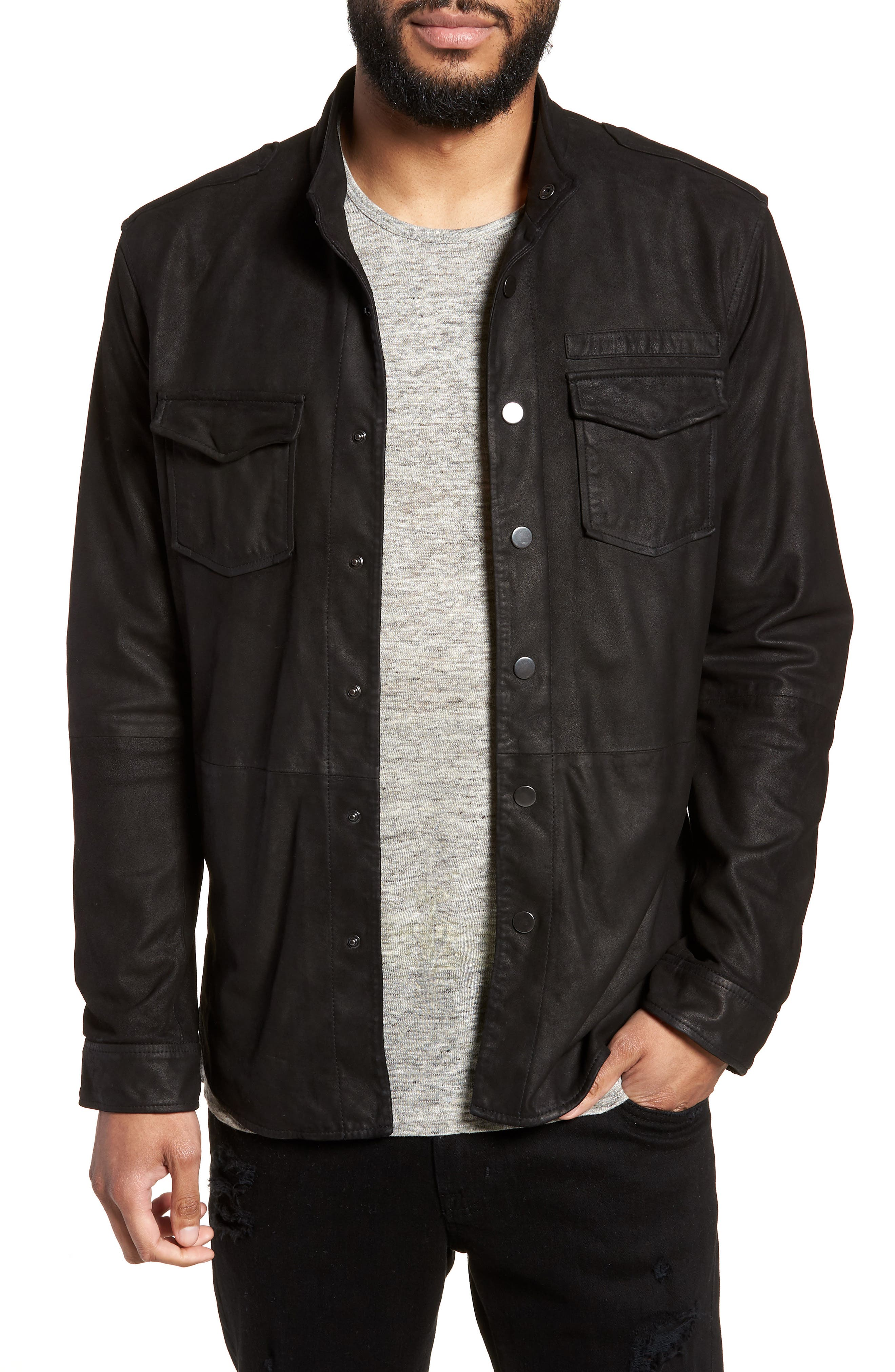 John Varvatos x Nick Jonas Suede Shirt Jacket,                         Main,                         color, BLACK