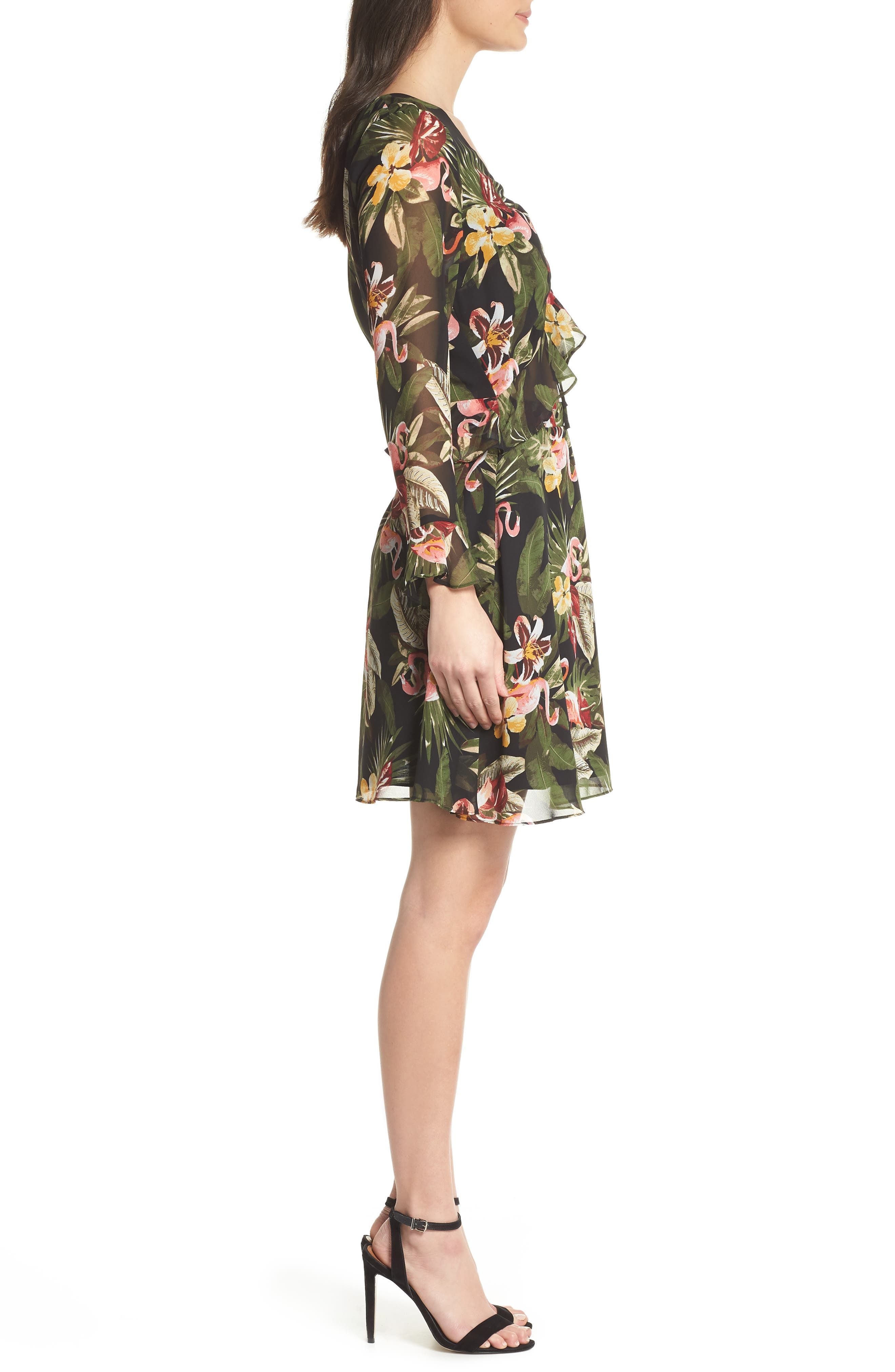 Waist Cutout Ruffle Dress,                             Alternate thumbnail 3, color,                             BLACK/ GREEN