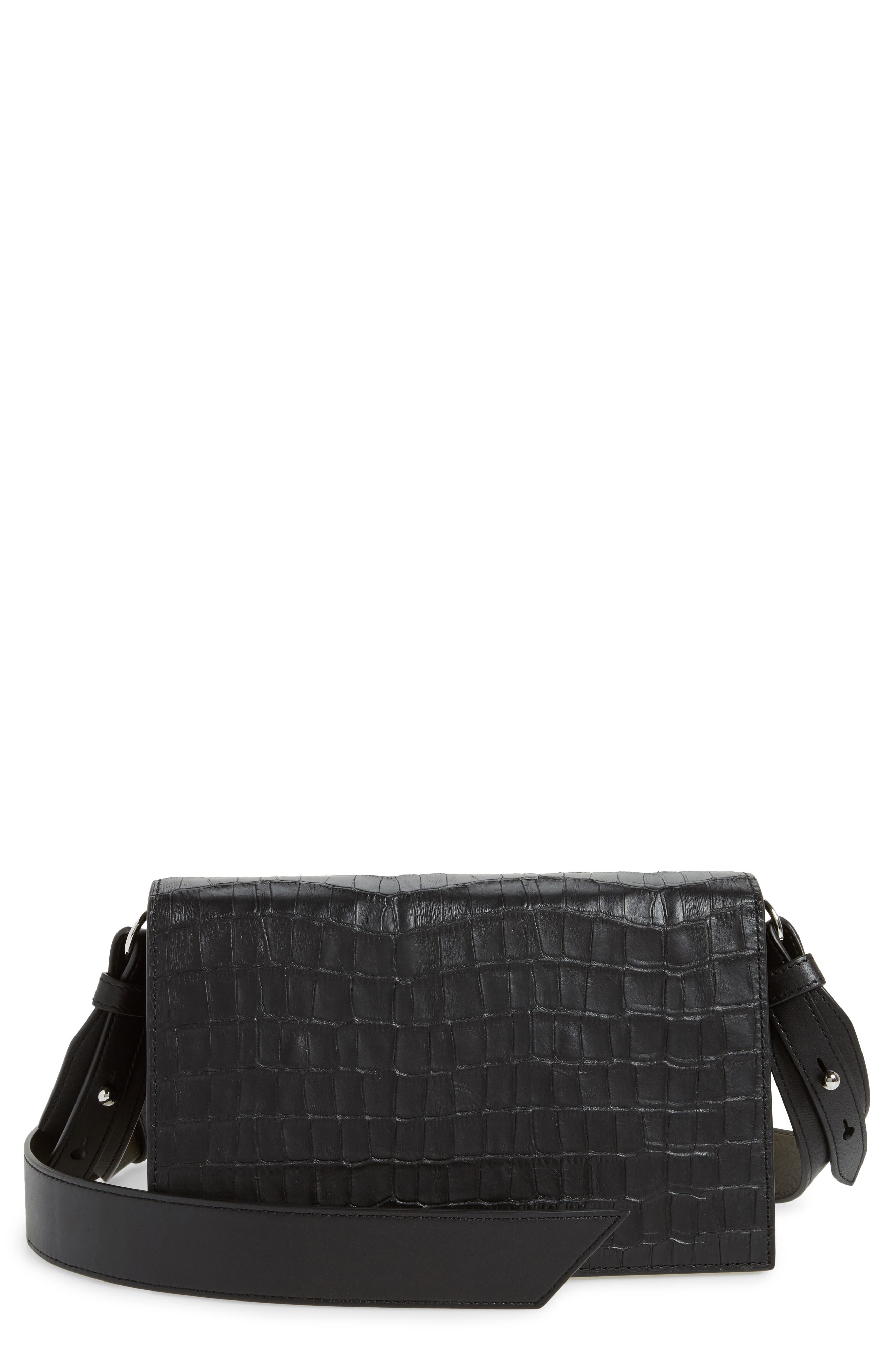 Keel Croc Embossed Leather Box Bag,                         Main,                         color, 001