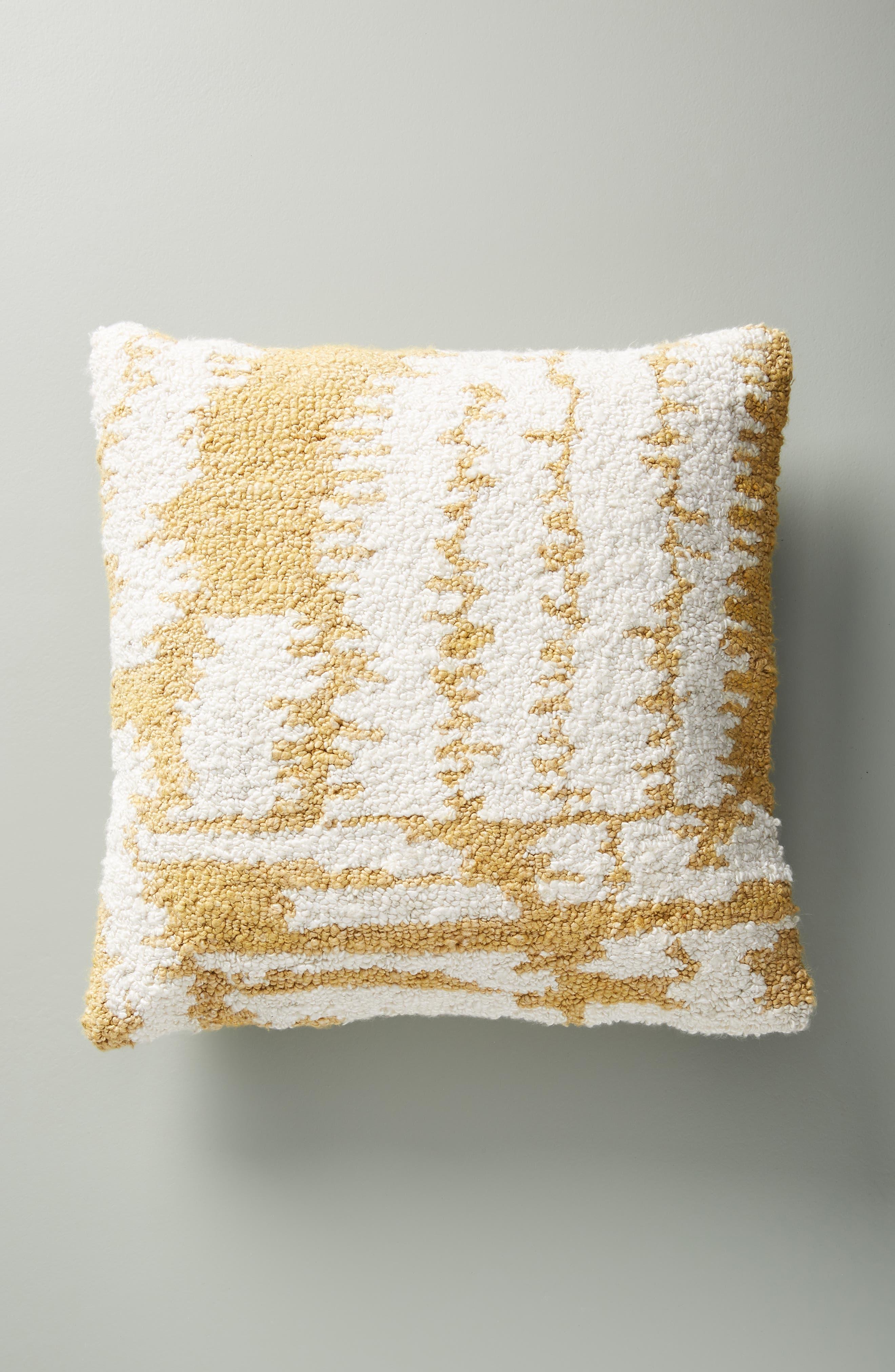 ANTHROPOLOGIE Jordana Accent Pillow, Main, color, OCHRE