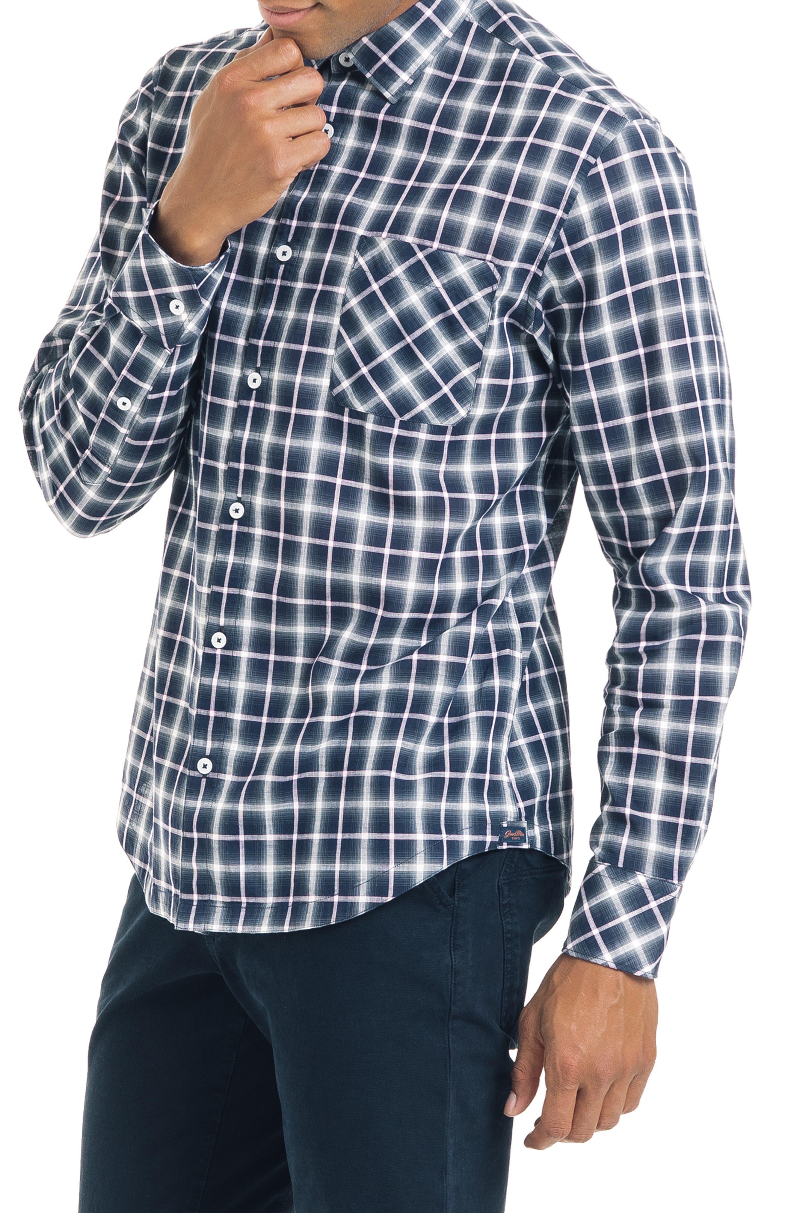 Bias Slim Fit Ombré Plaid Sport Shirt,                             Alternate thumbnail 3, color,                             BLUE