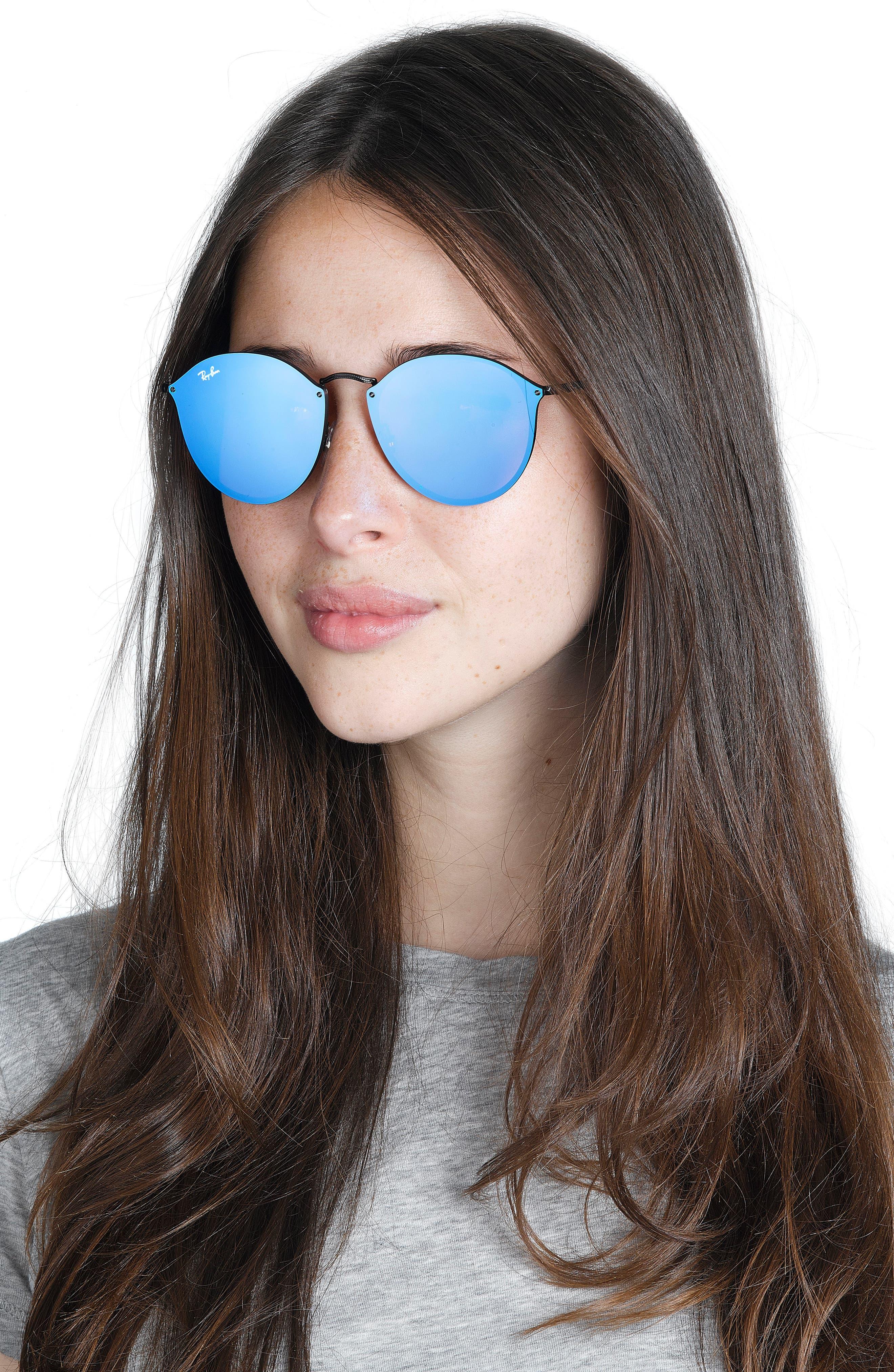 59mm Blaze Round Mirrored Sunglasses,                             Alternate thumbnail 3, color,                             001