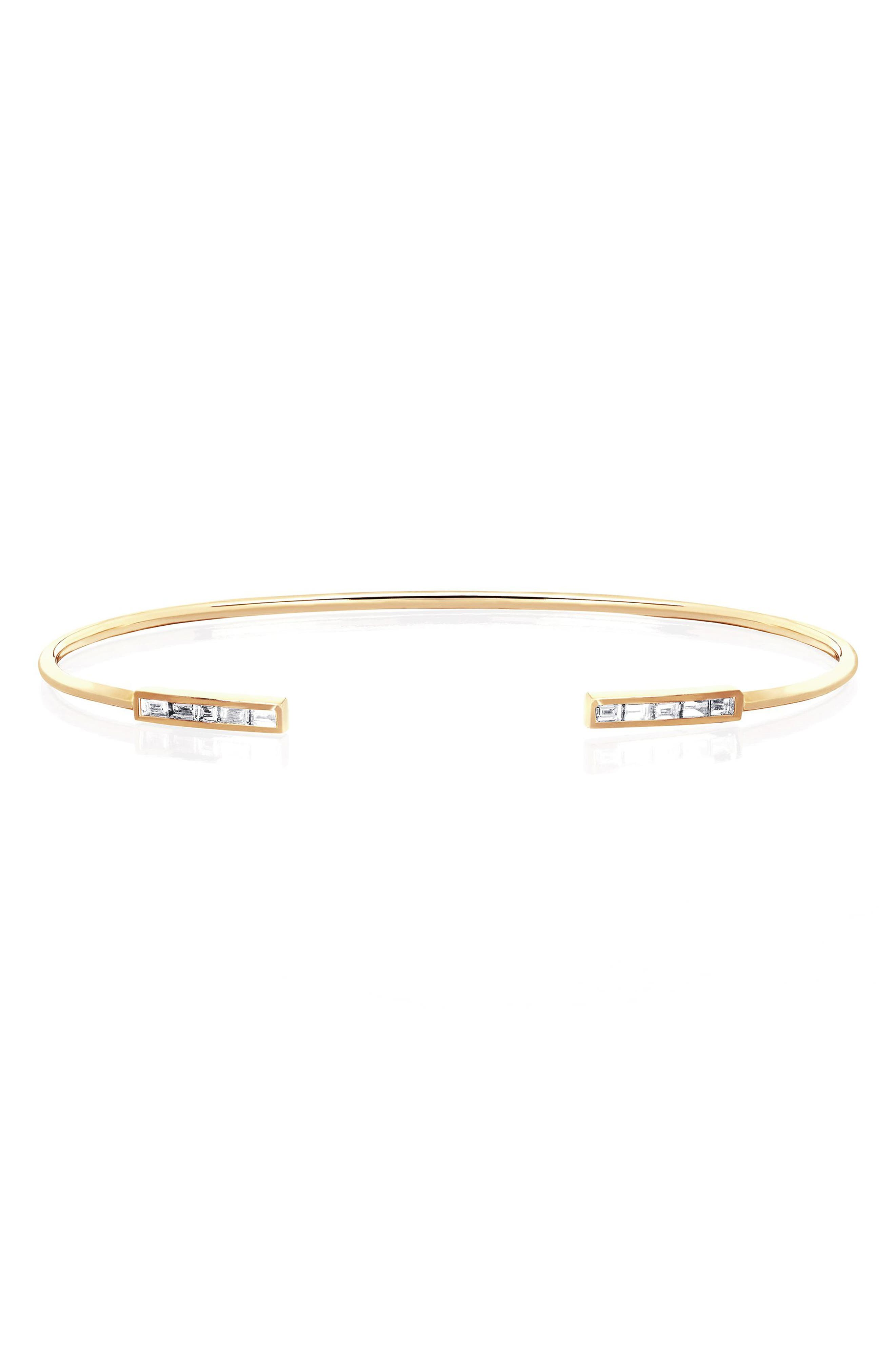 Baguette Diamond Cuff,                             Main thumbnail 1, color,                             YELLOW GOLD