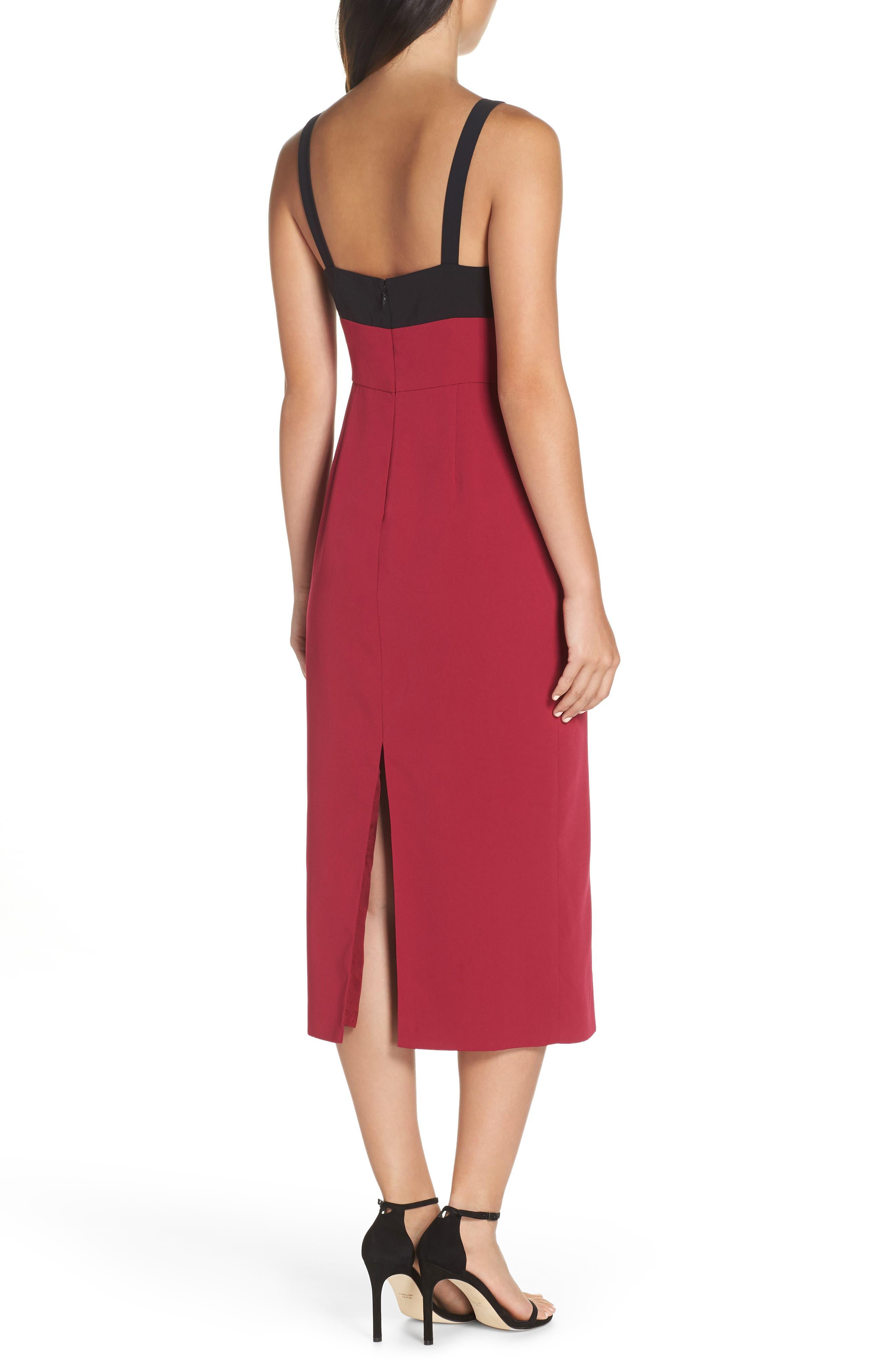 Colorblock Midi Dress,                             Alternate thumbnail 2, color,                             BLACK/ WINEBERRY
