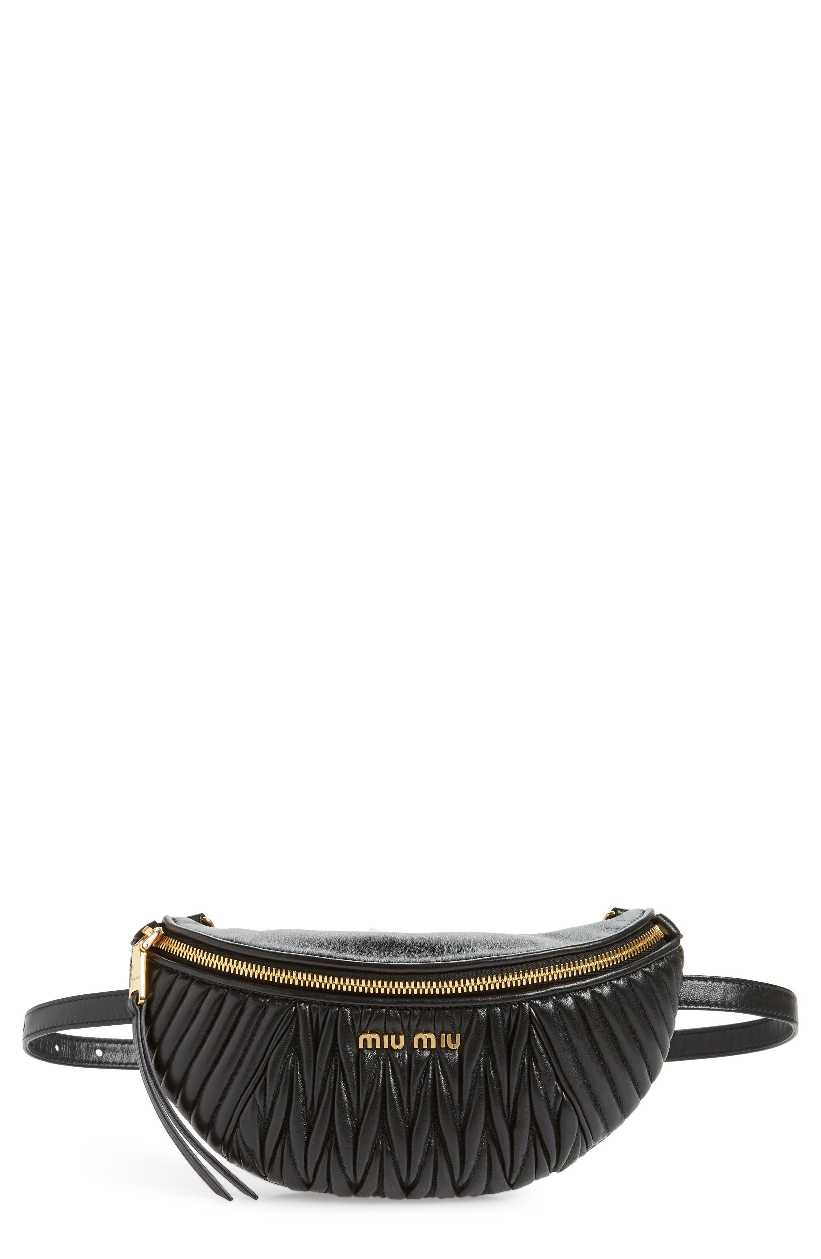 Matelassé Lambskin Leather Belt Bag, Main, color, NERO