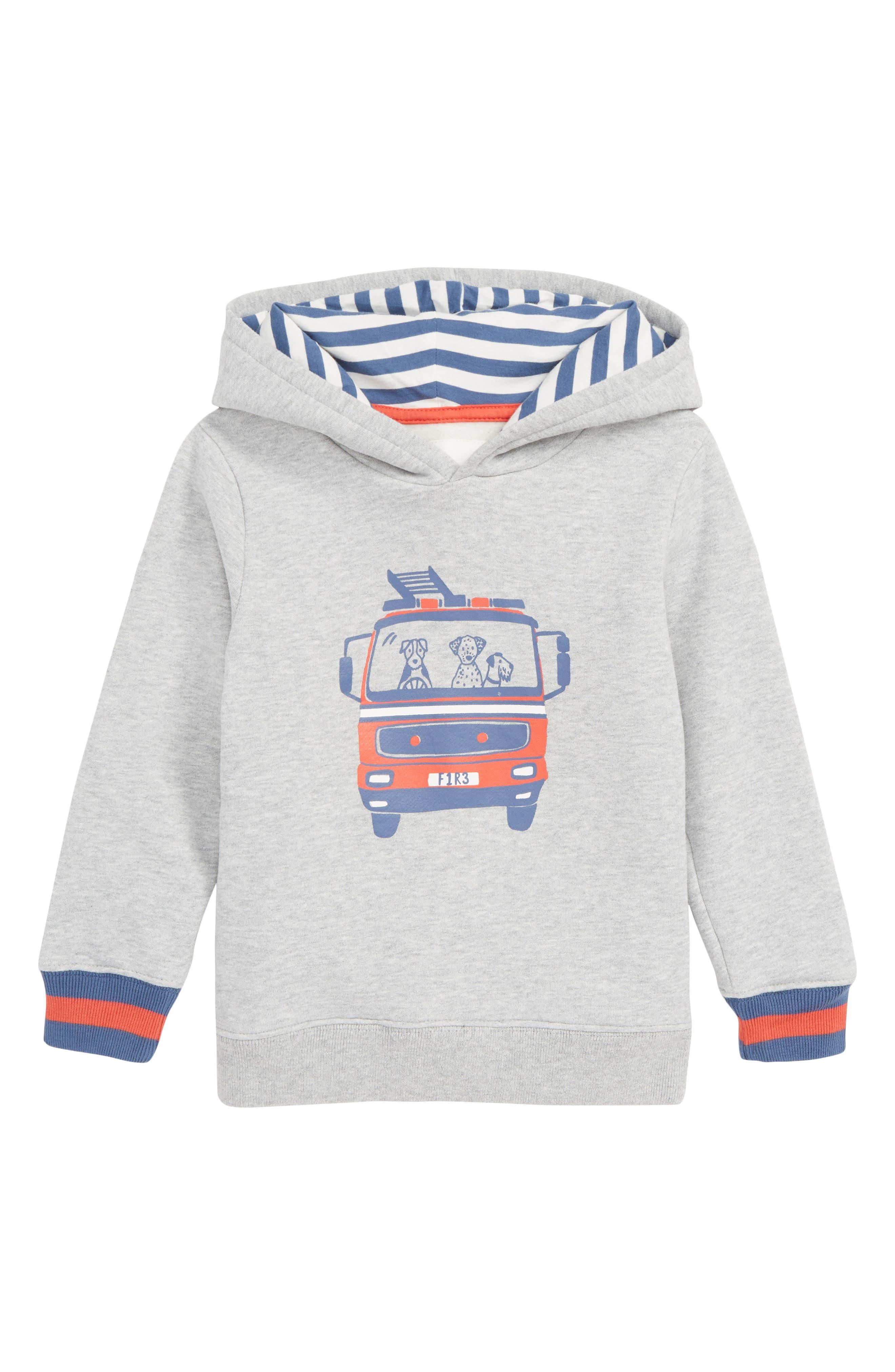 Boys Mini Boden Fire Engine Hoodie Size 1112Y  Grey