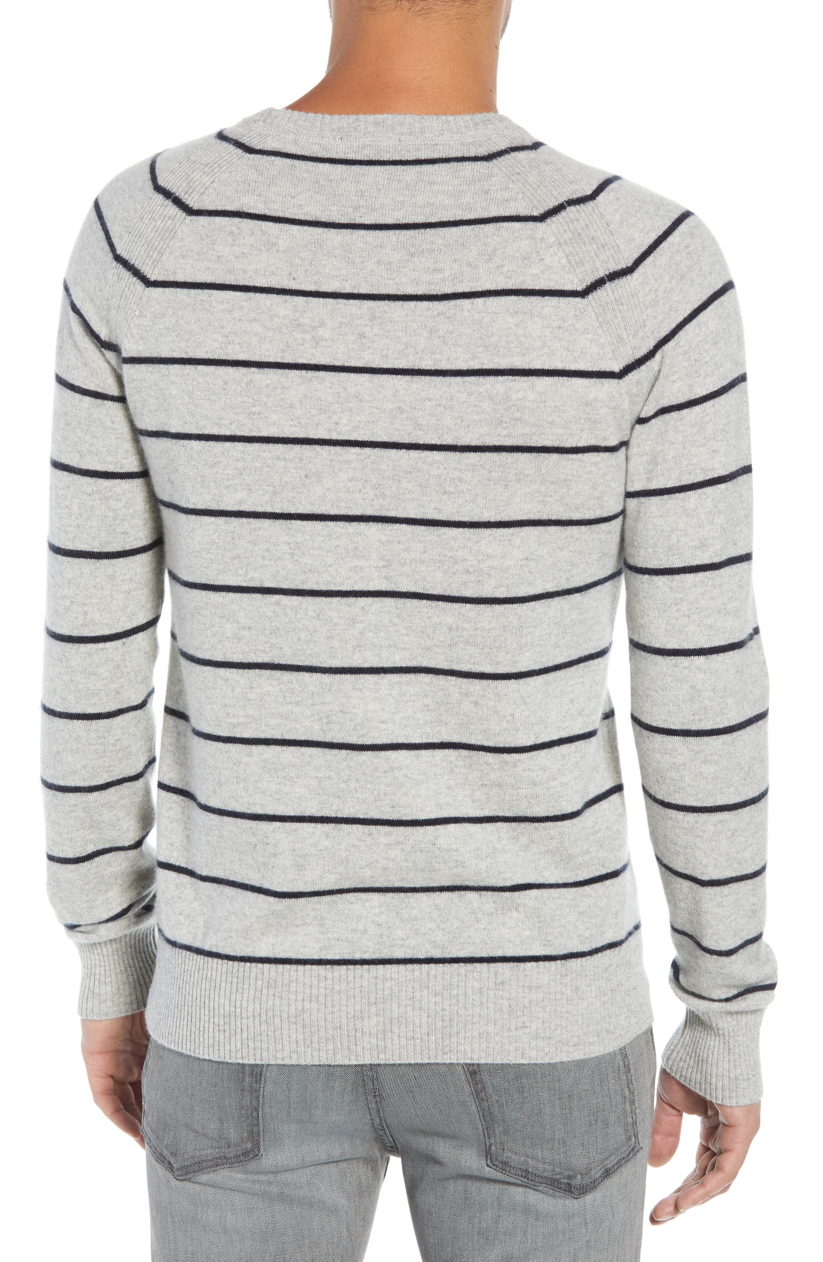 Caleb Stripe Cashmere Sweater,                             Alternate thumbnail 2, color,                             LIGHT HEATHER GREY/ NAVY