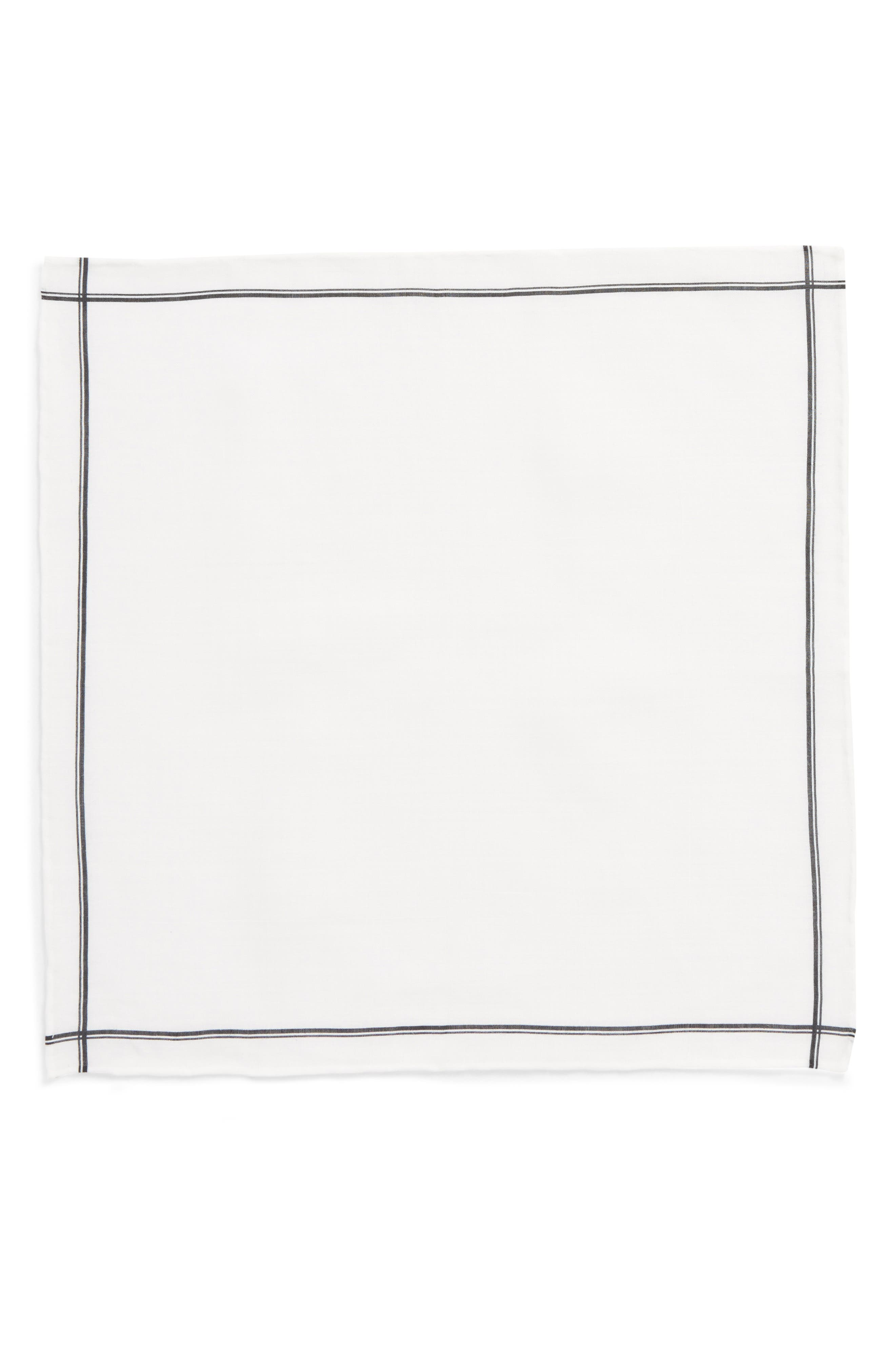 Binary Border Linen Pocket Square,                             Alternate thumbnail 2, color,                             001