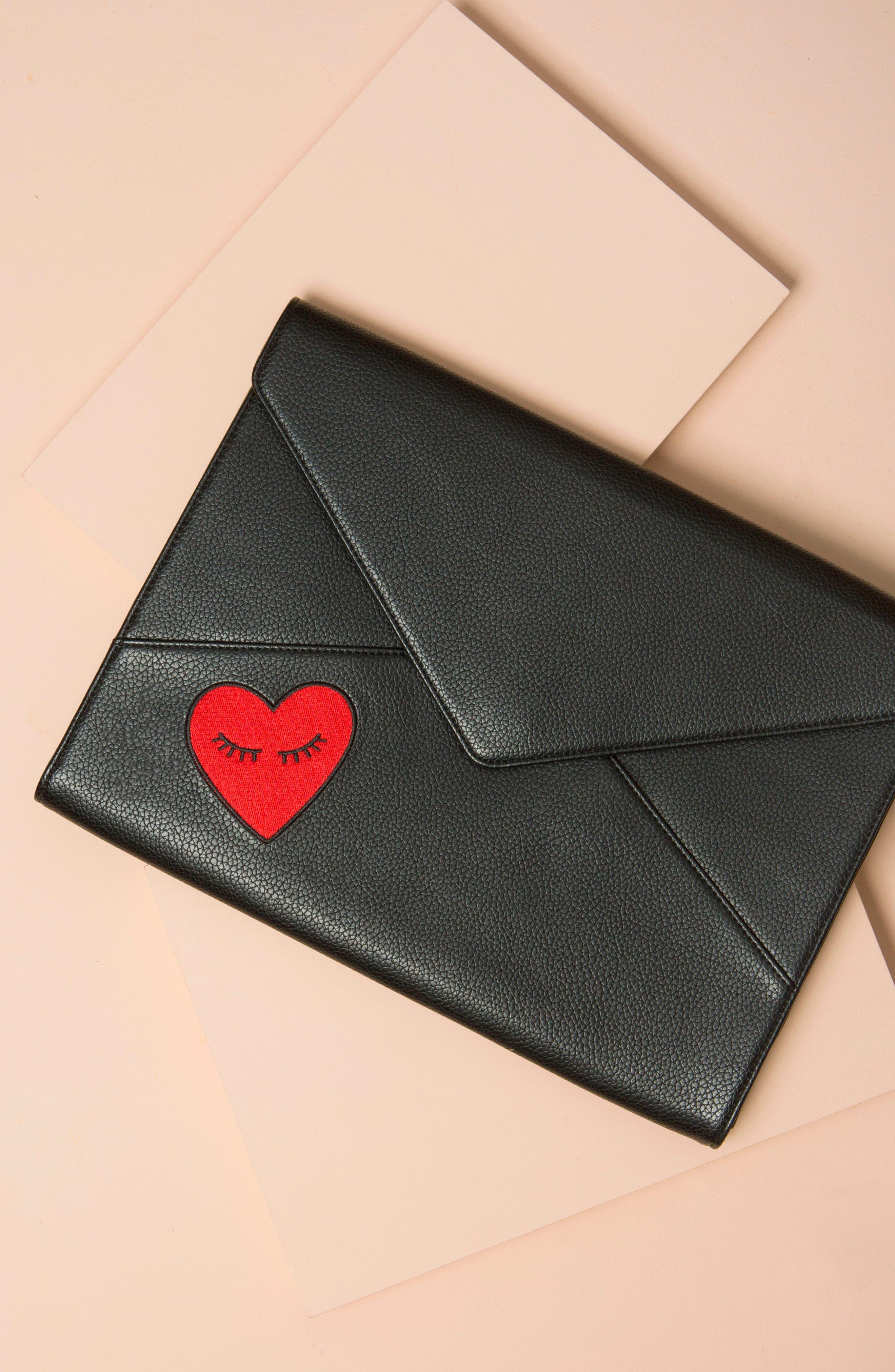 Fancy Heart Faux Leather Laptop Clutch,                             Alternate thumbnail 5, color,                             001