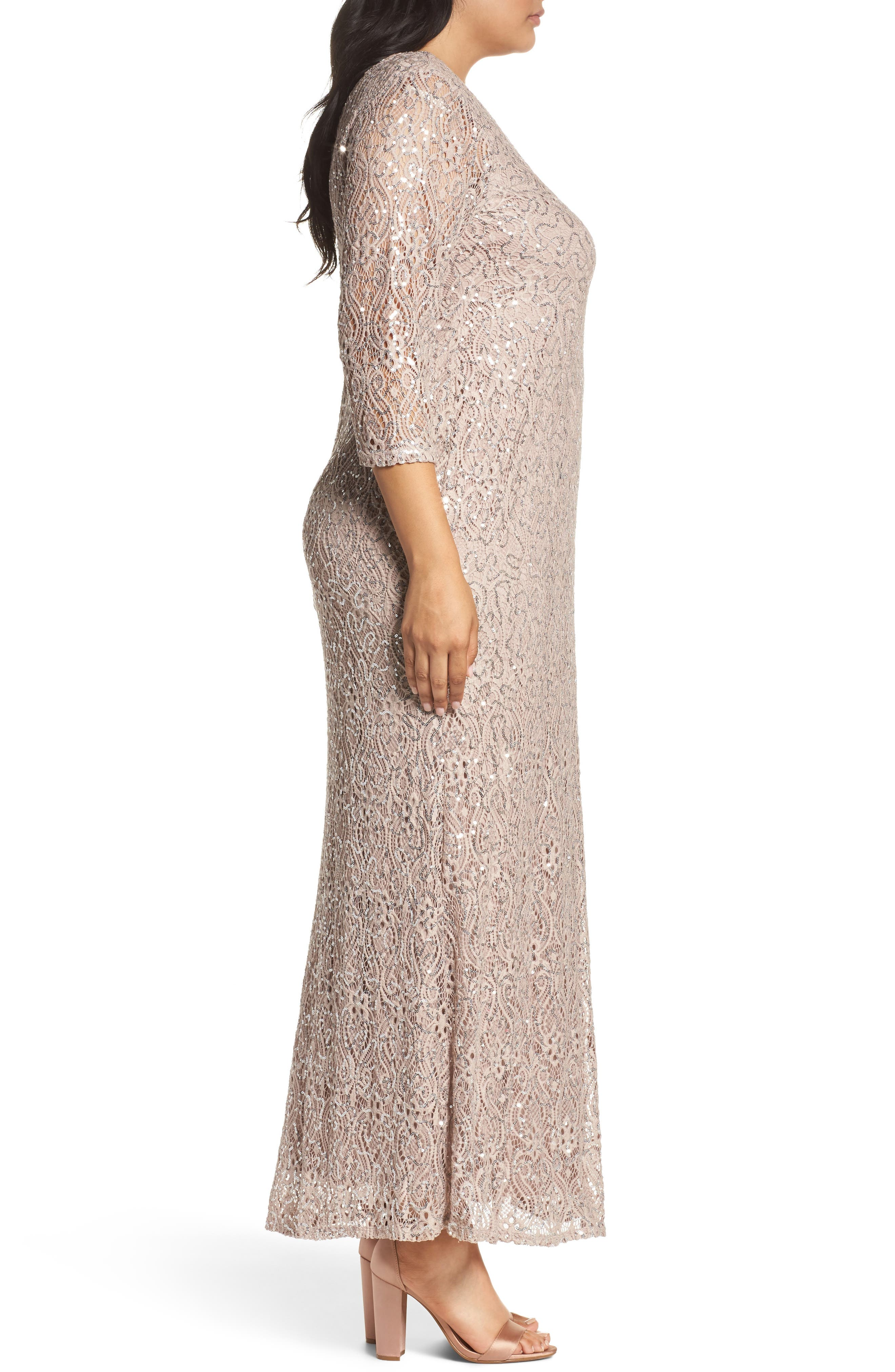 Sequin Lace A-Line Gown,                             Alternate thumbnail 3, color,                             TAUPE