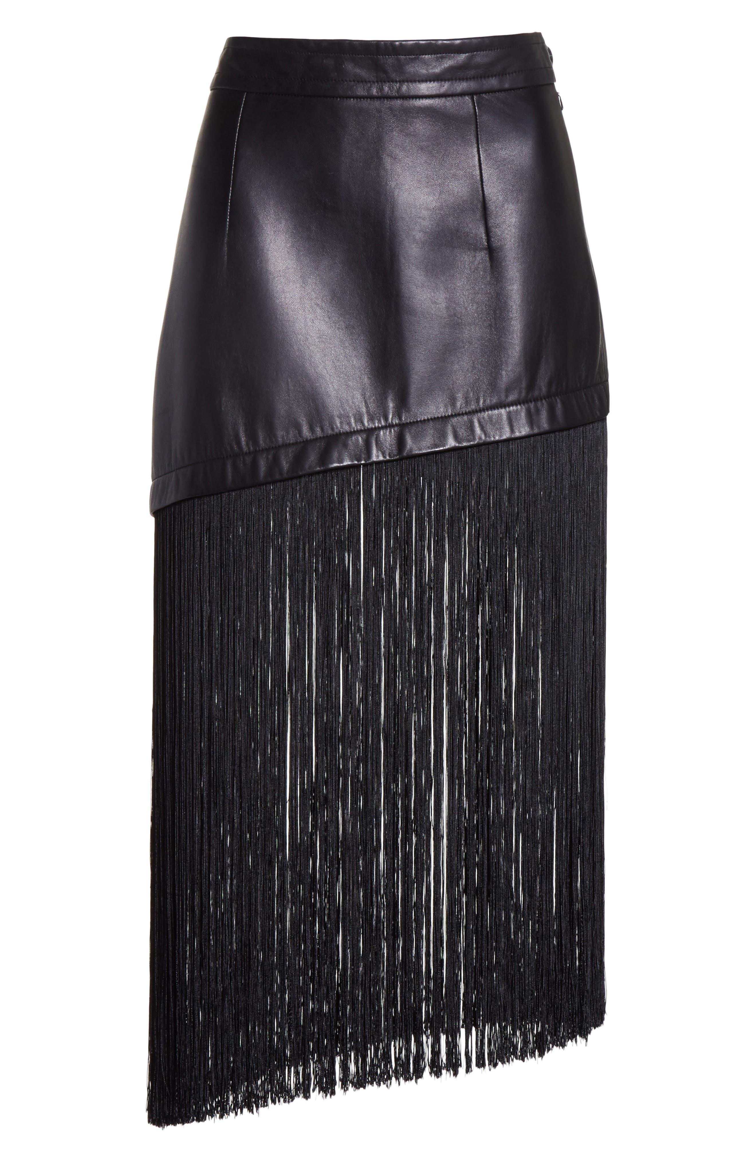 Fringe Hem Leather Miniskirt,                             Alternate thumbnail 6, color,