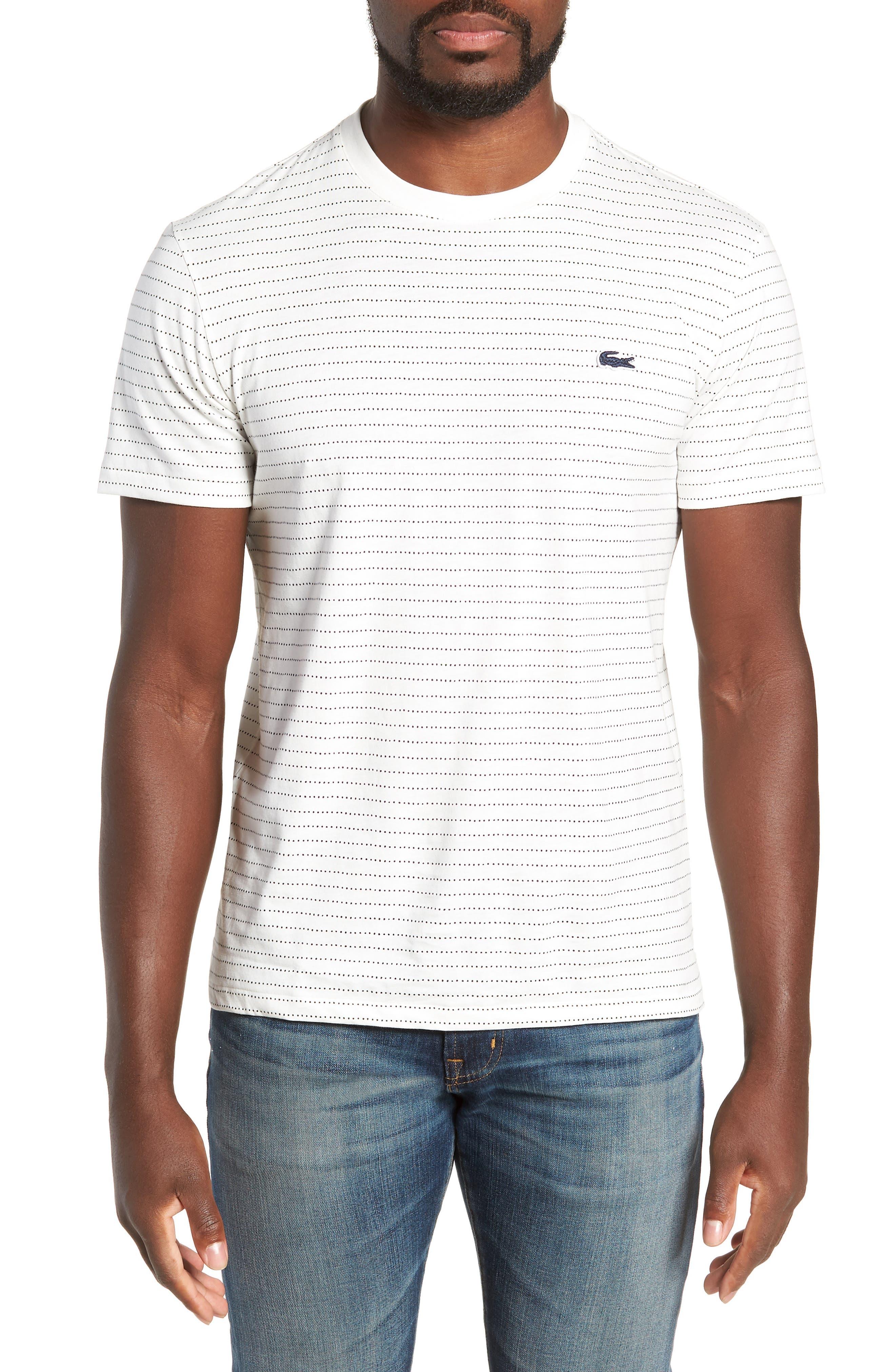 Dotted Stripe T-Shirt,                             Main thumbnail 1, color,                             FLOUR/ NAVY BLUE