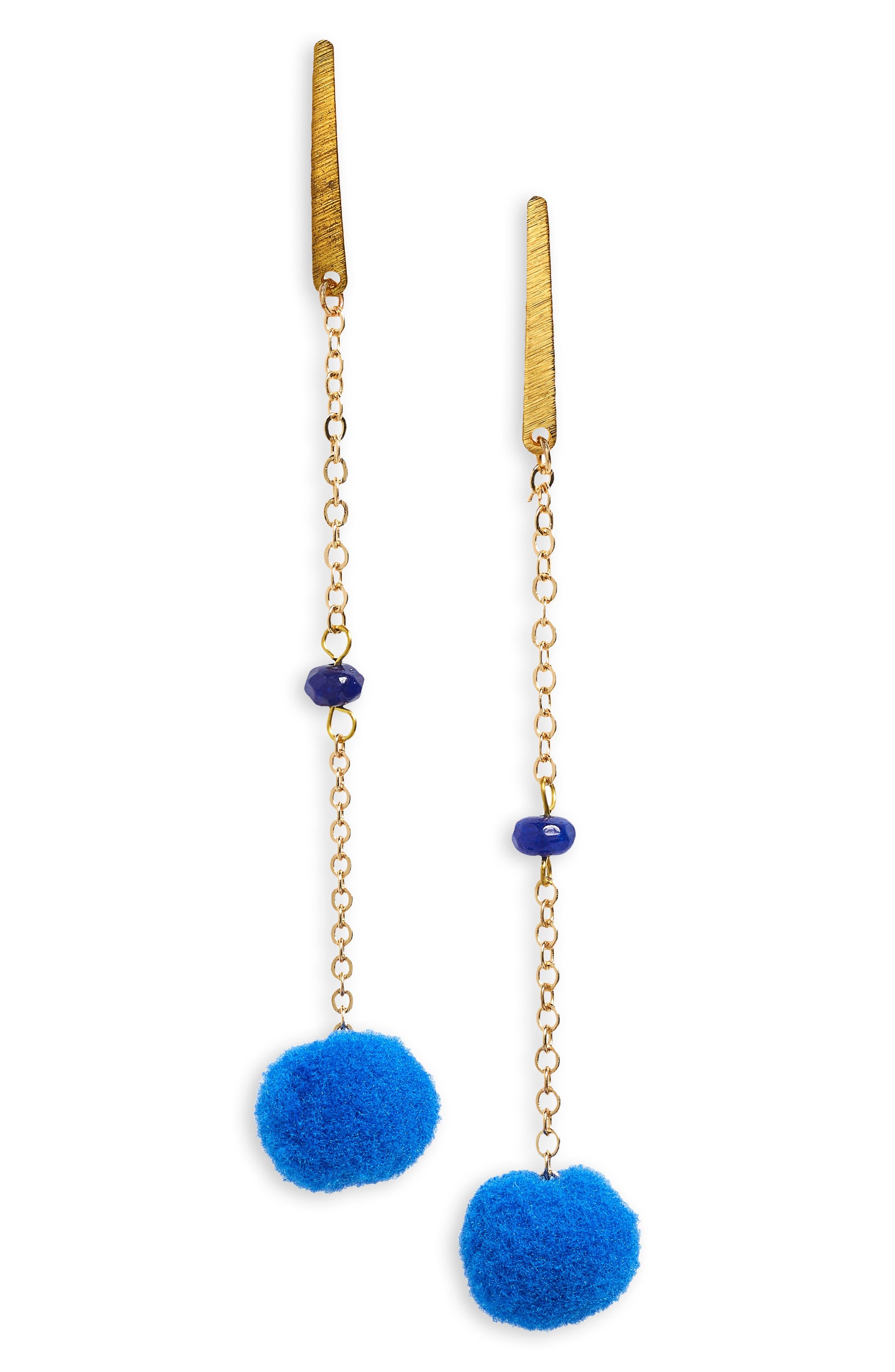Linear Pom Earrings,                             Main thumbnail 1, color,                             400