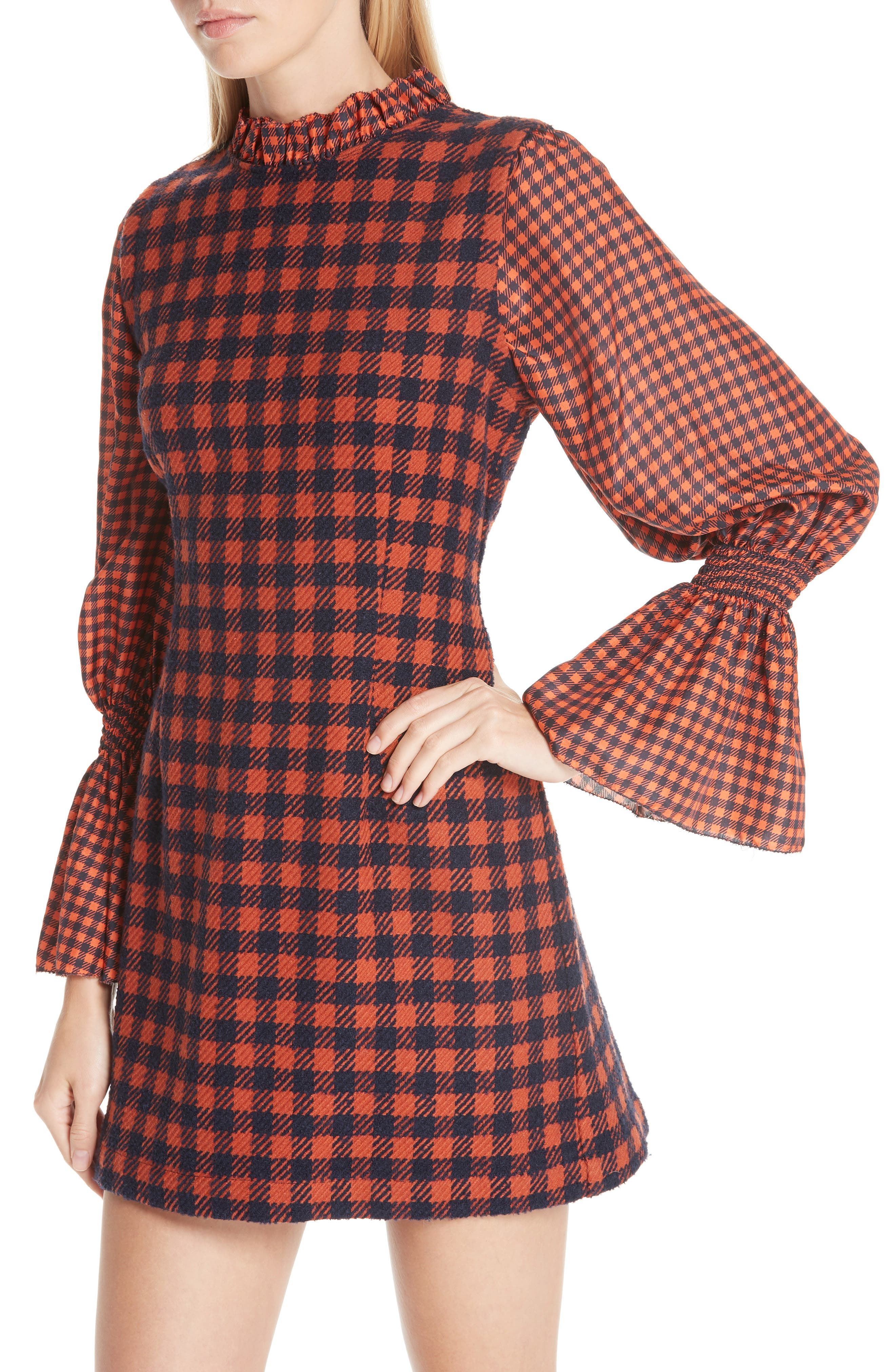 Ethno Pop Checkered Combo Dress,                             Alternate thumbnail 4, color,                             800