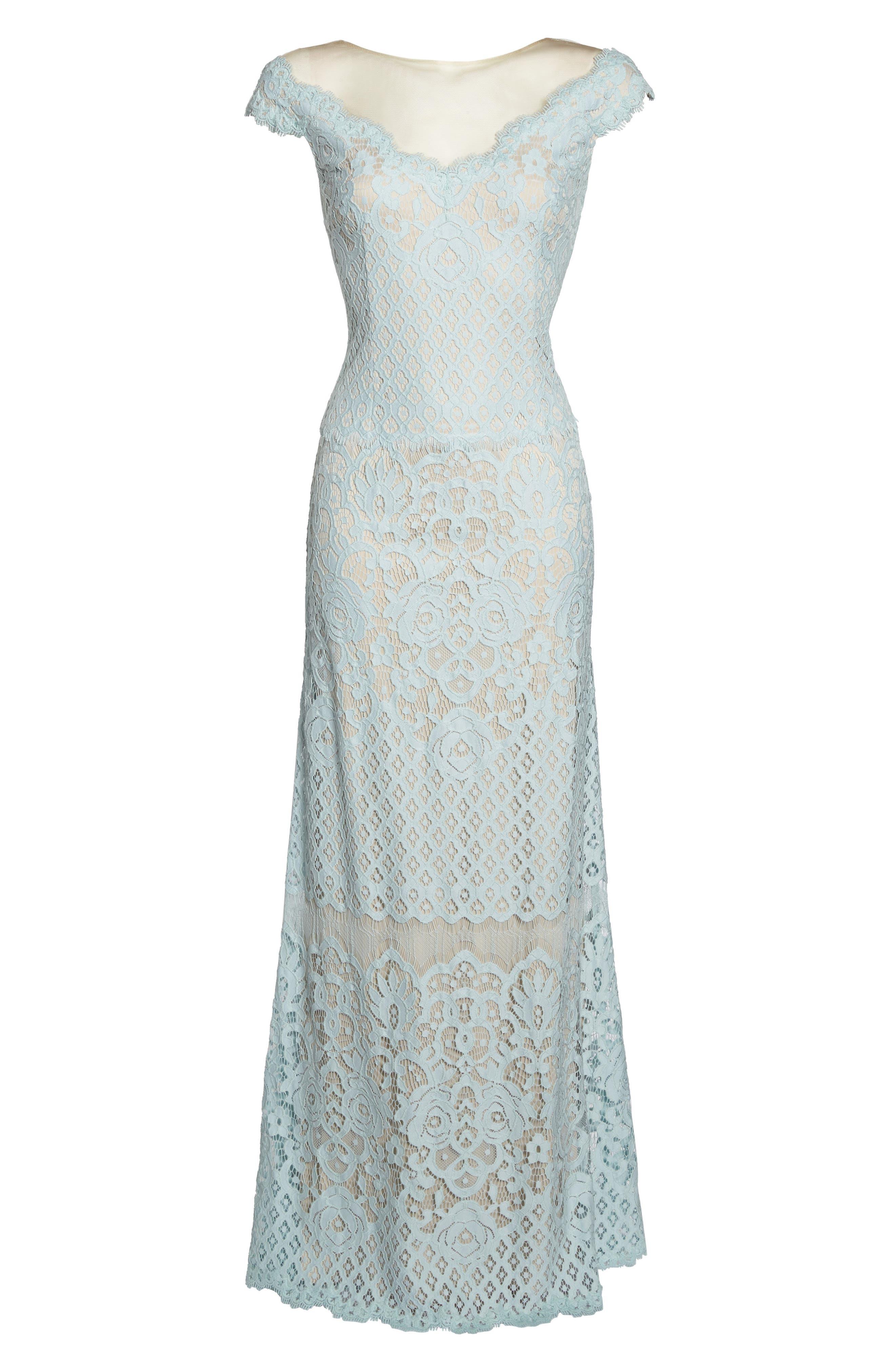 Illusion Neck Lace Column Gown,                             Alternate thumbnail 6, color,                             400