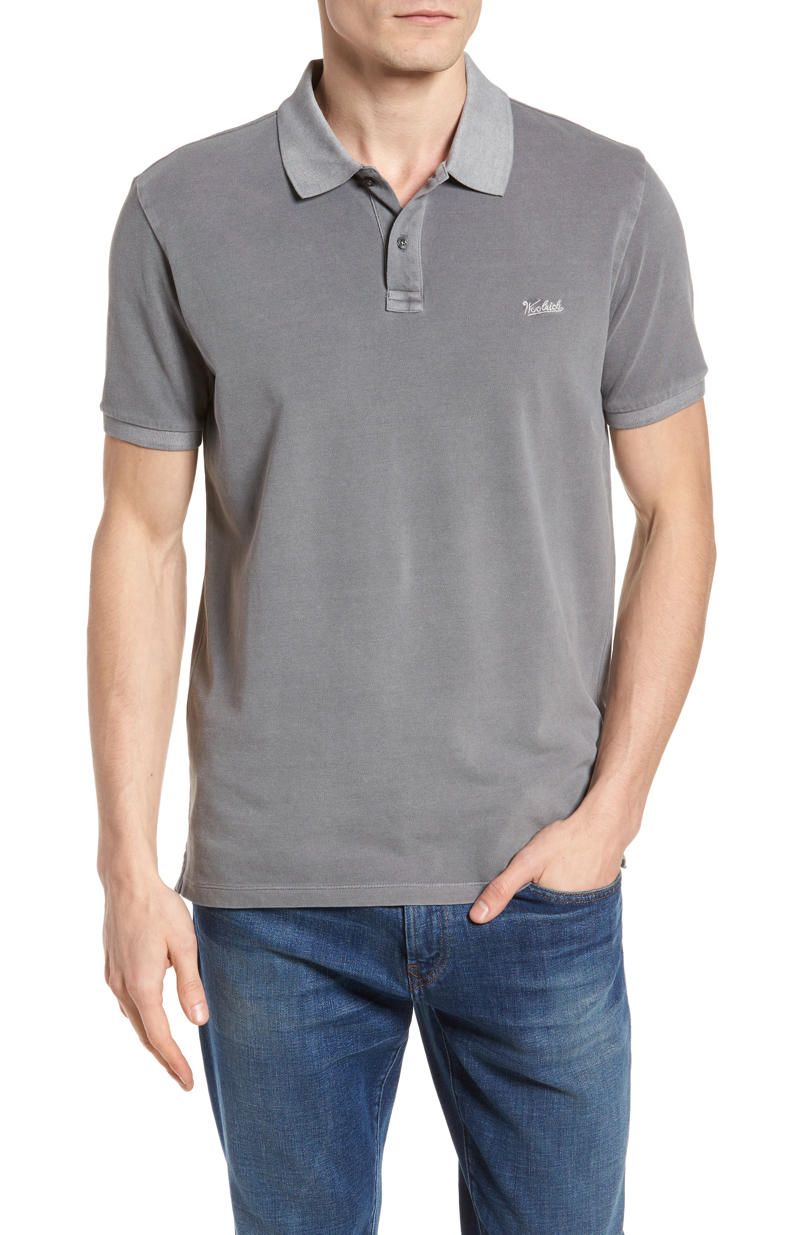 & Bros. Vintage Mackinack Polo,                             Main thumbnail 1, color,                             STEEL GREY