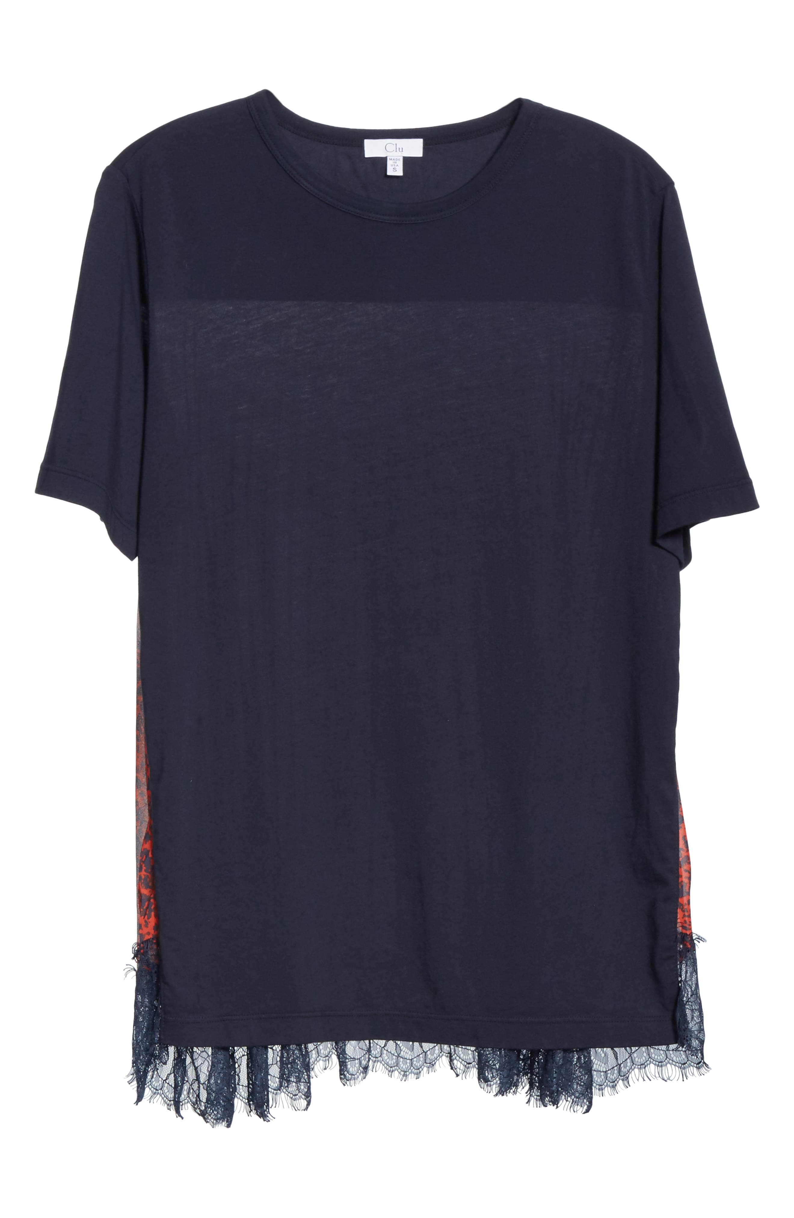 Mix Media Pleat Lace Detail Tee,                             Alternate thumbnail 6, color,                             NAVY