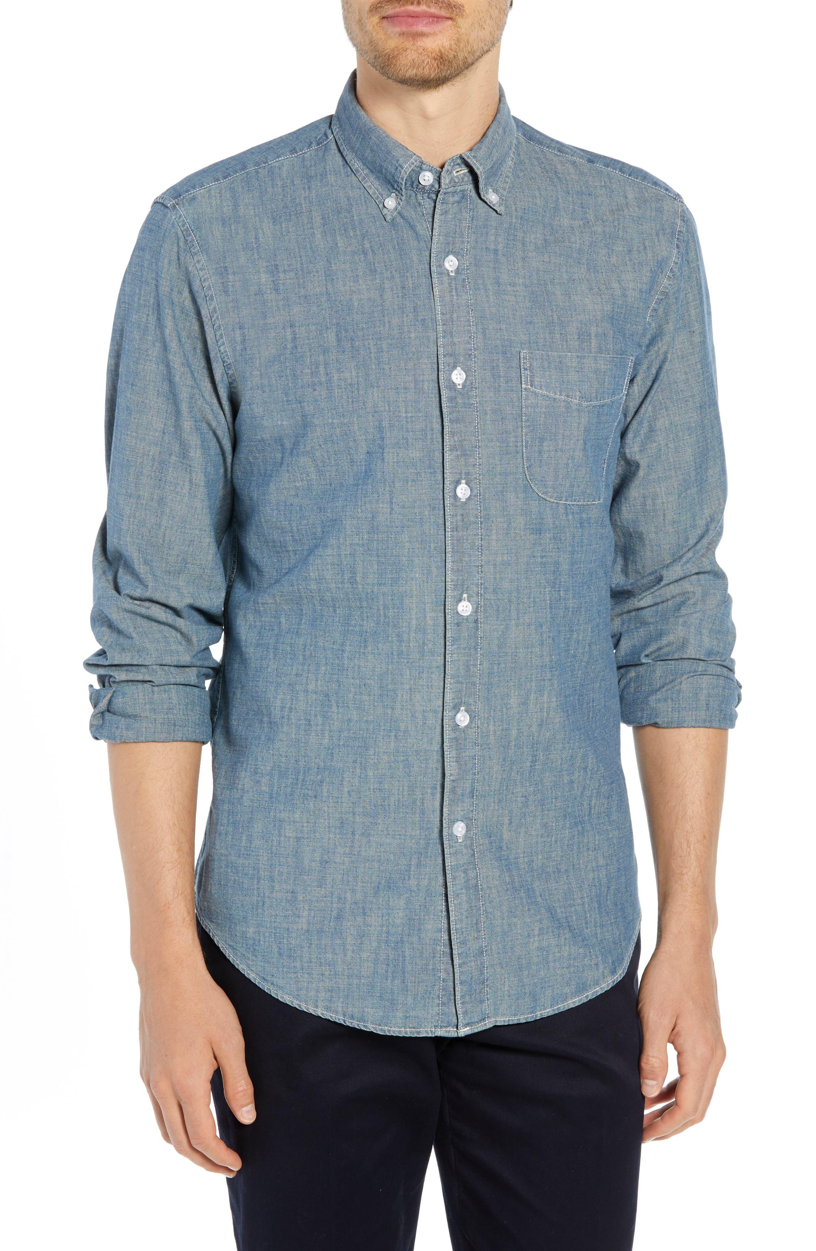 Slim Fit Indigo Japanese Chambray Shirt,                             Main thumbnail 1, color,                             INDIGO